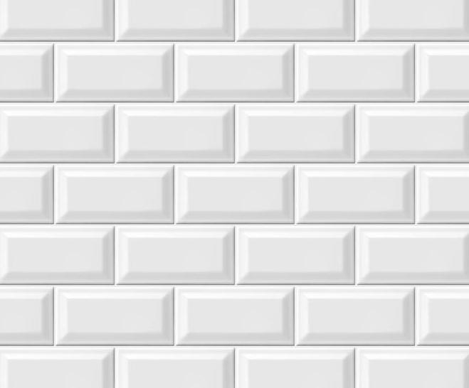 White beveled subway tile for backsplash