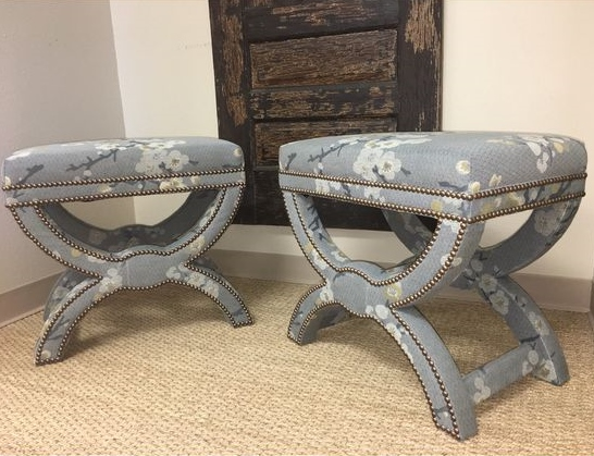 """These cool """"X"""" base ottomans are upholstered in a Crypton fabric, made custom for a client by one of our local vendors, Creative Style Furniture."""