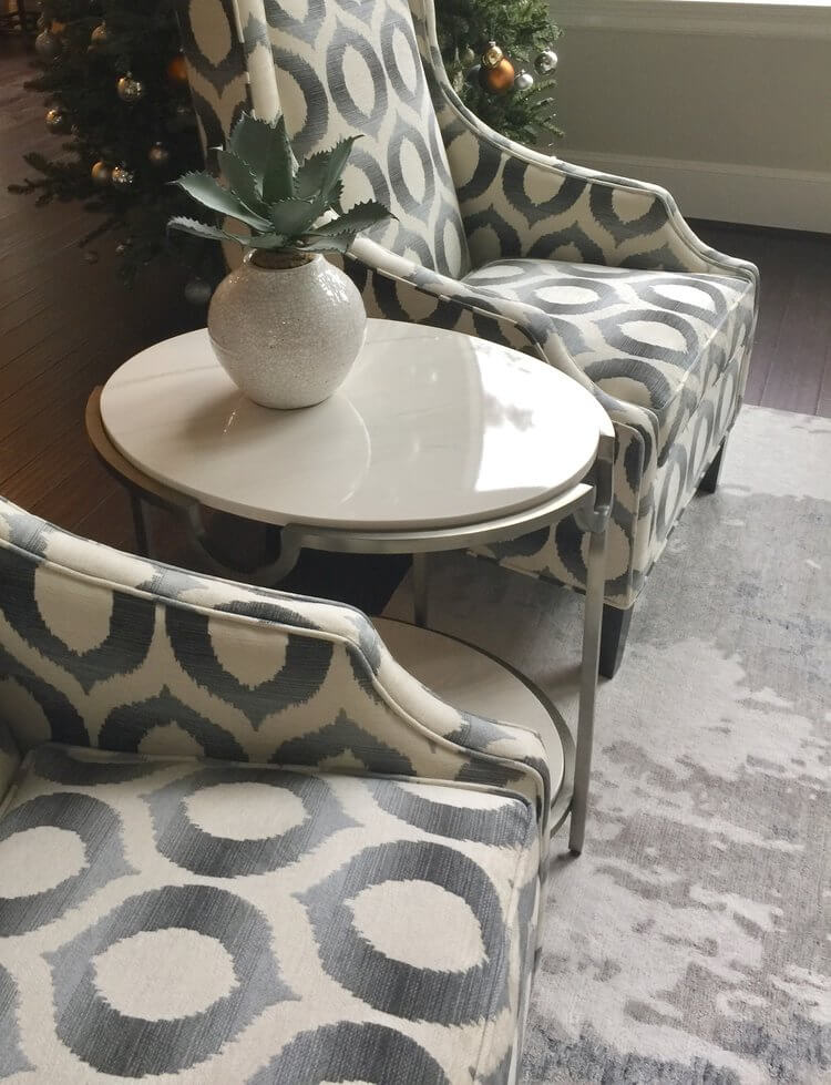 This great statement pattern is a Crypton fabric we had upholstered on a new wingback chair from one of our local vendors, Houston Upholstery.