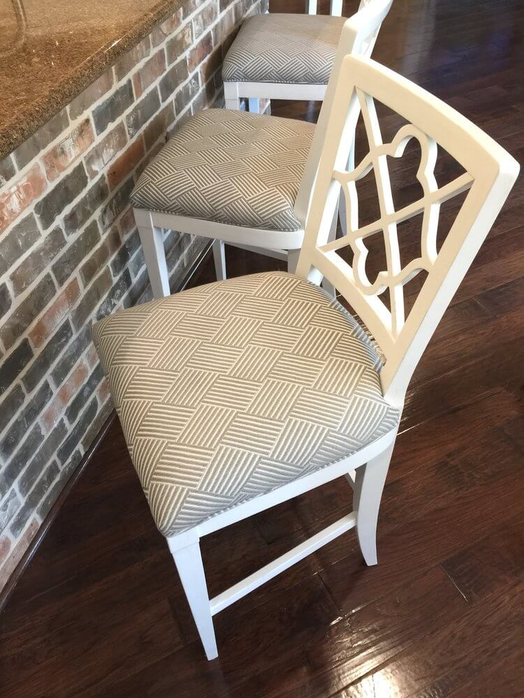 Crypton fabric here replaced a linen fabric that stained and showed signs of wear and tear.