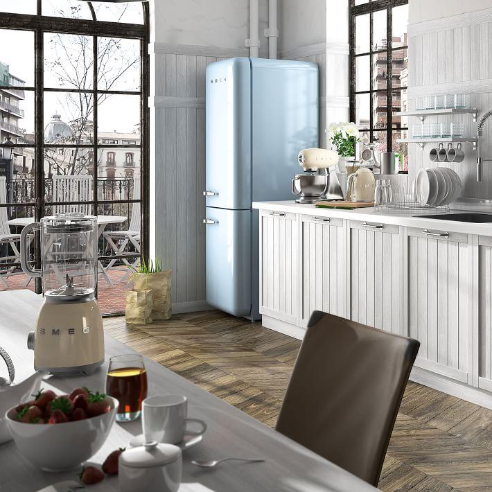 Baby blue vintage look refrigerator from Smeg, Image via:  West Elm