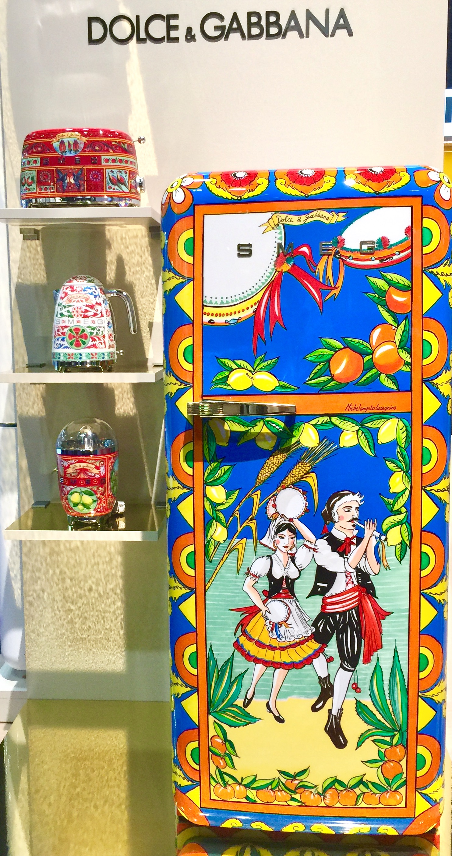 Smeg refrigerator designed by Dolce & Gabbana - Appliances as the centerpiece of the kitchen! #appliances #refrigerator #dolceandgabbana