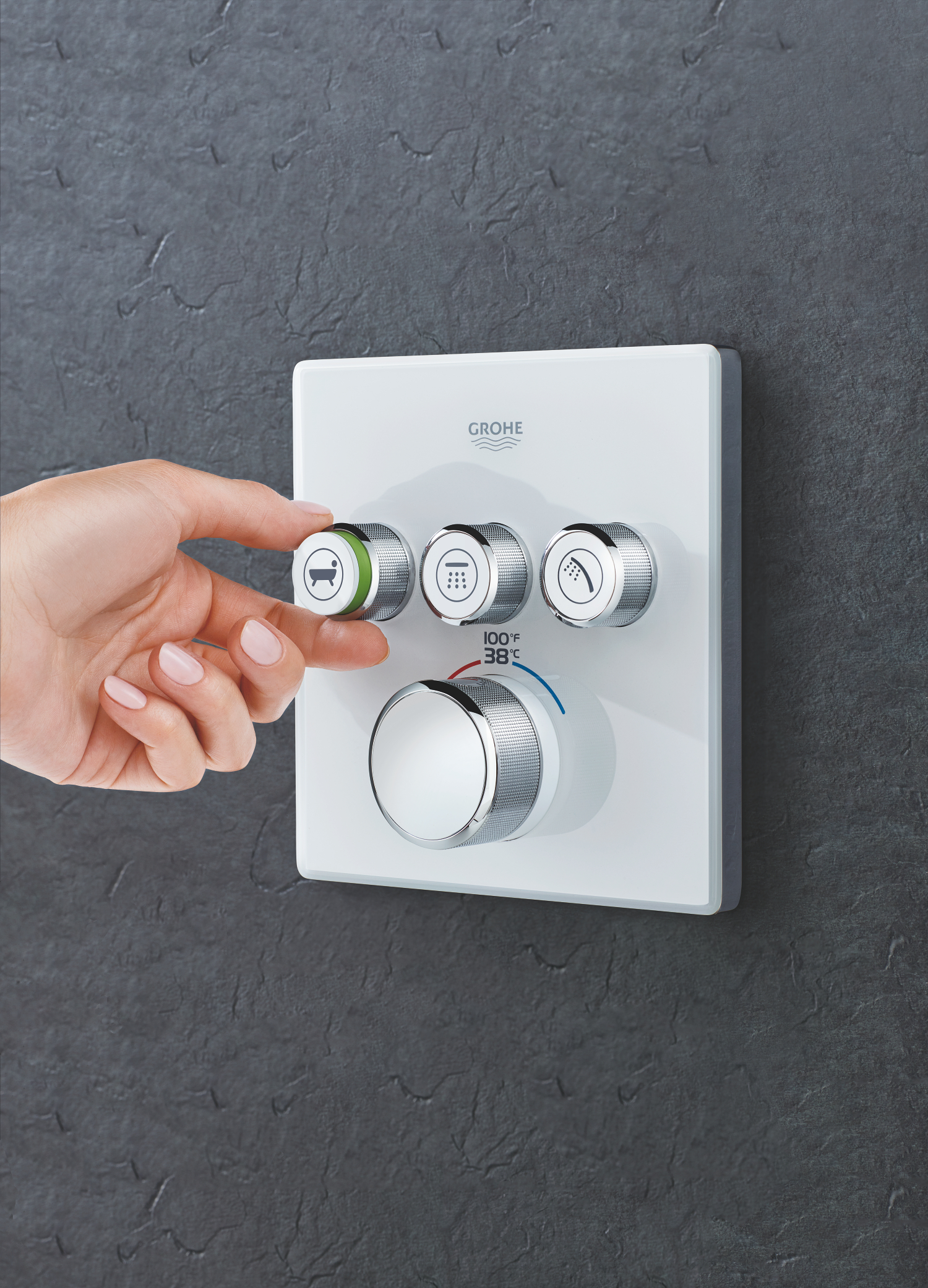 Grohe shower controls with push buttons #grohe #kbis2018 #shower #bathroomdesign