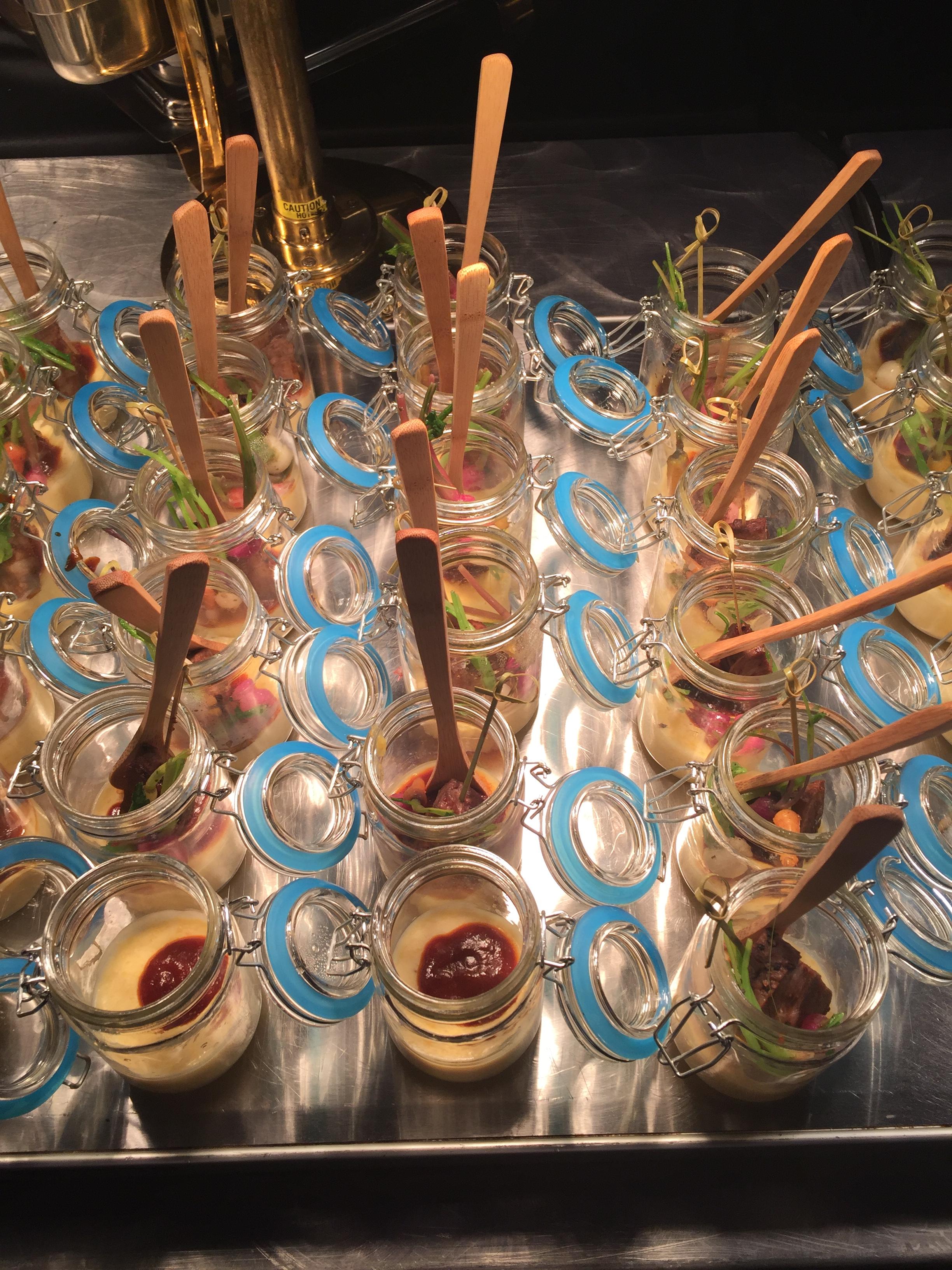 Grits in mason jars.....YUM! The party food was delish! #partyfood #masonjar #entertaining