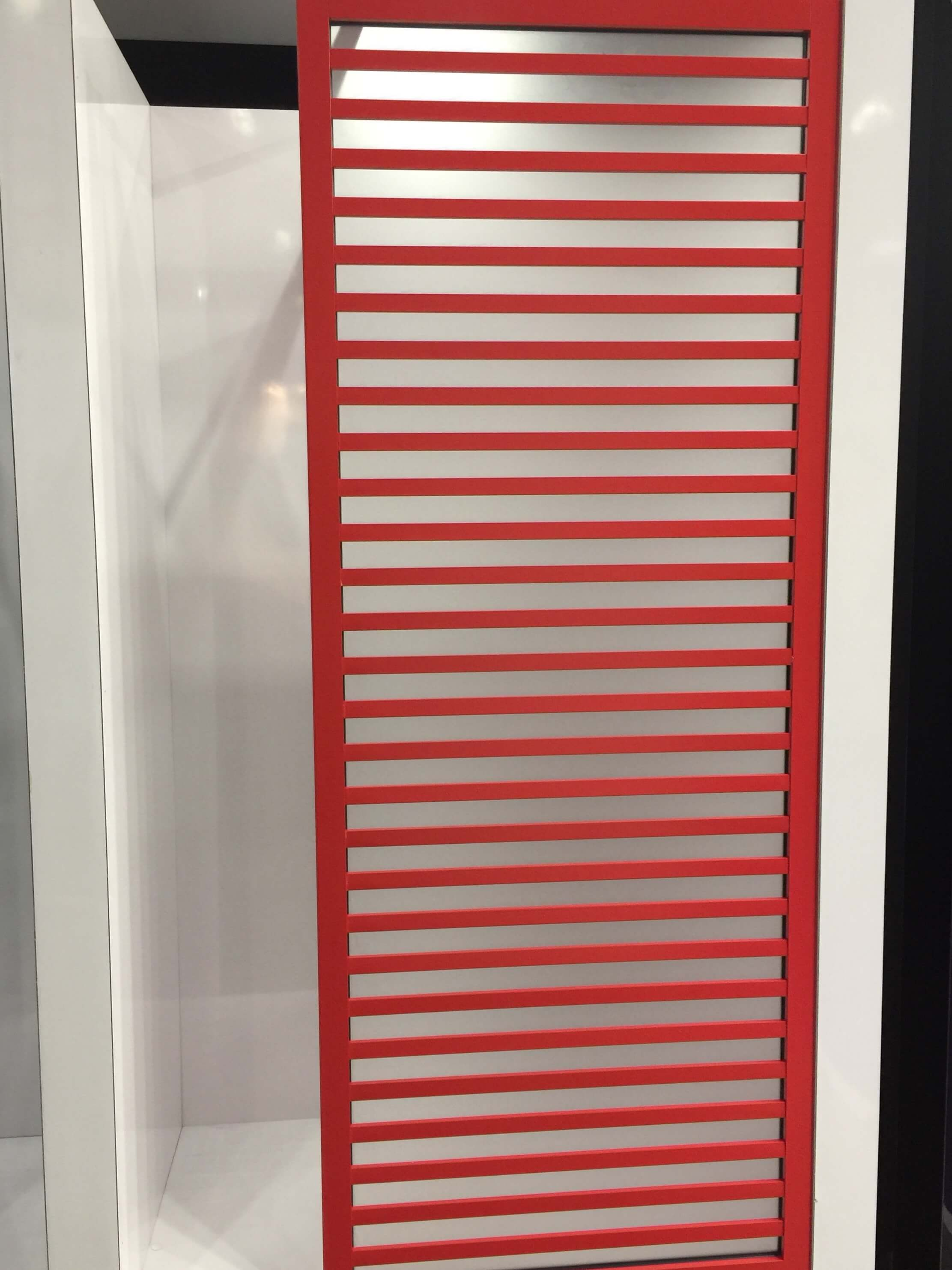 Colorful aluminum shower doors with wood look details by Coastal Shower Doors #showerdoors #showerenclosure