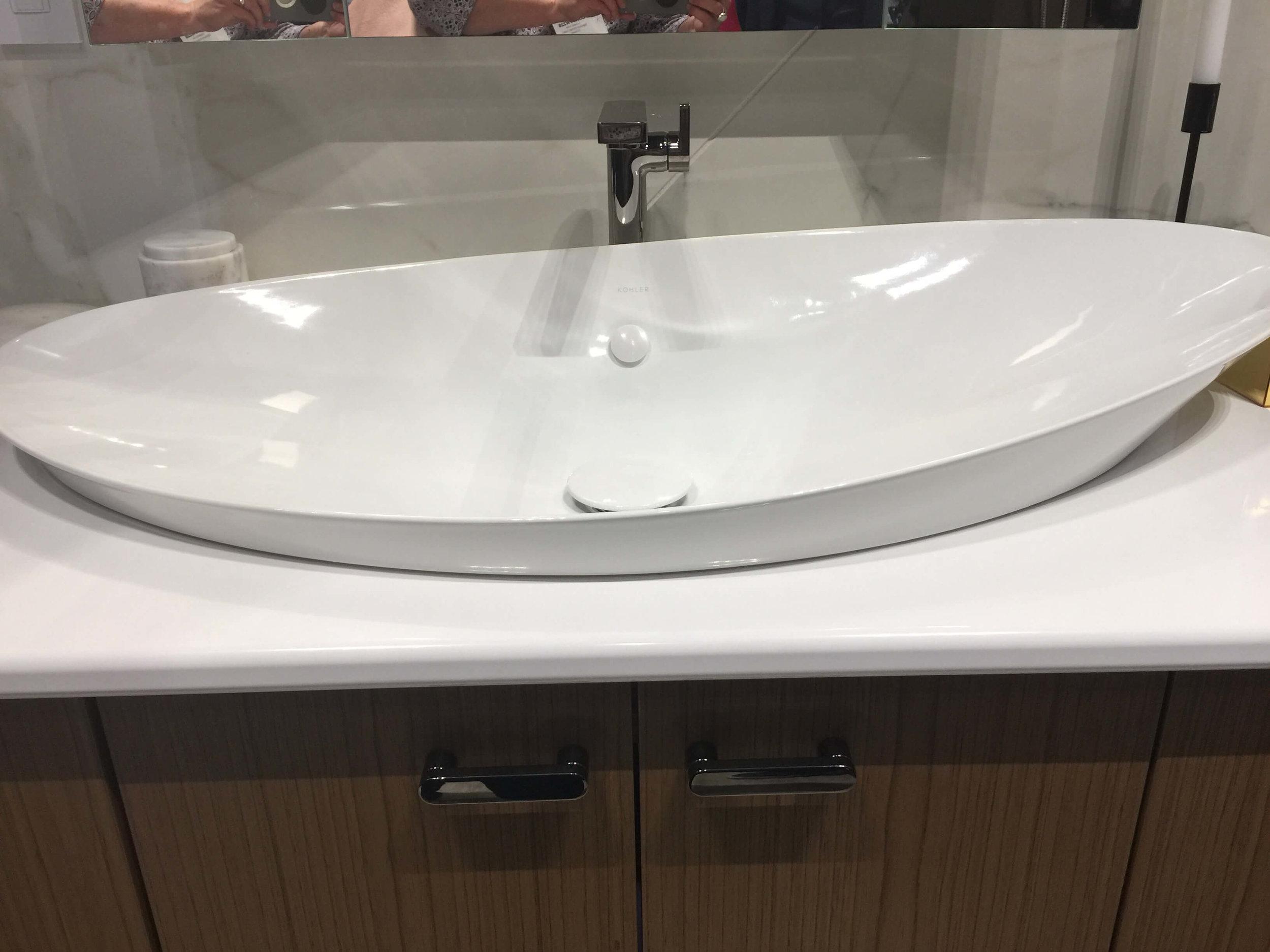 New sink intros from Kohler at KBIS2018 like this wide, asymmetrical vessel sink #sink #vesselsink