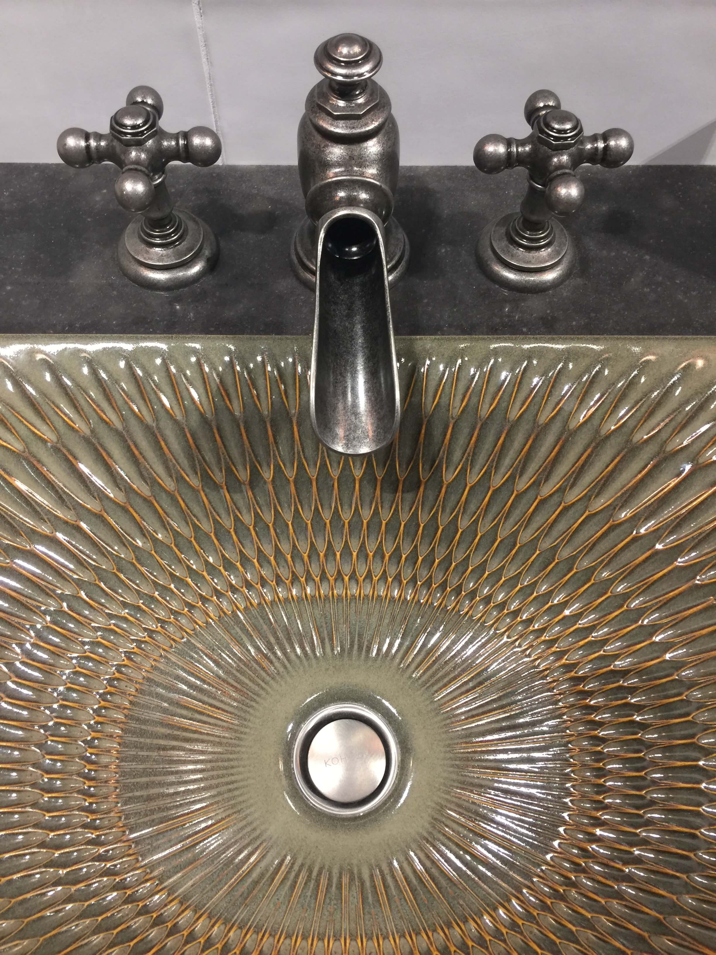 This pattern and colorway suggest a Craftsman style in Kohler's Artist Edition series #sink #kohlersink