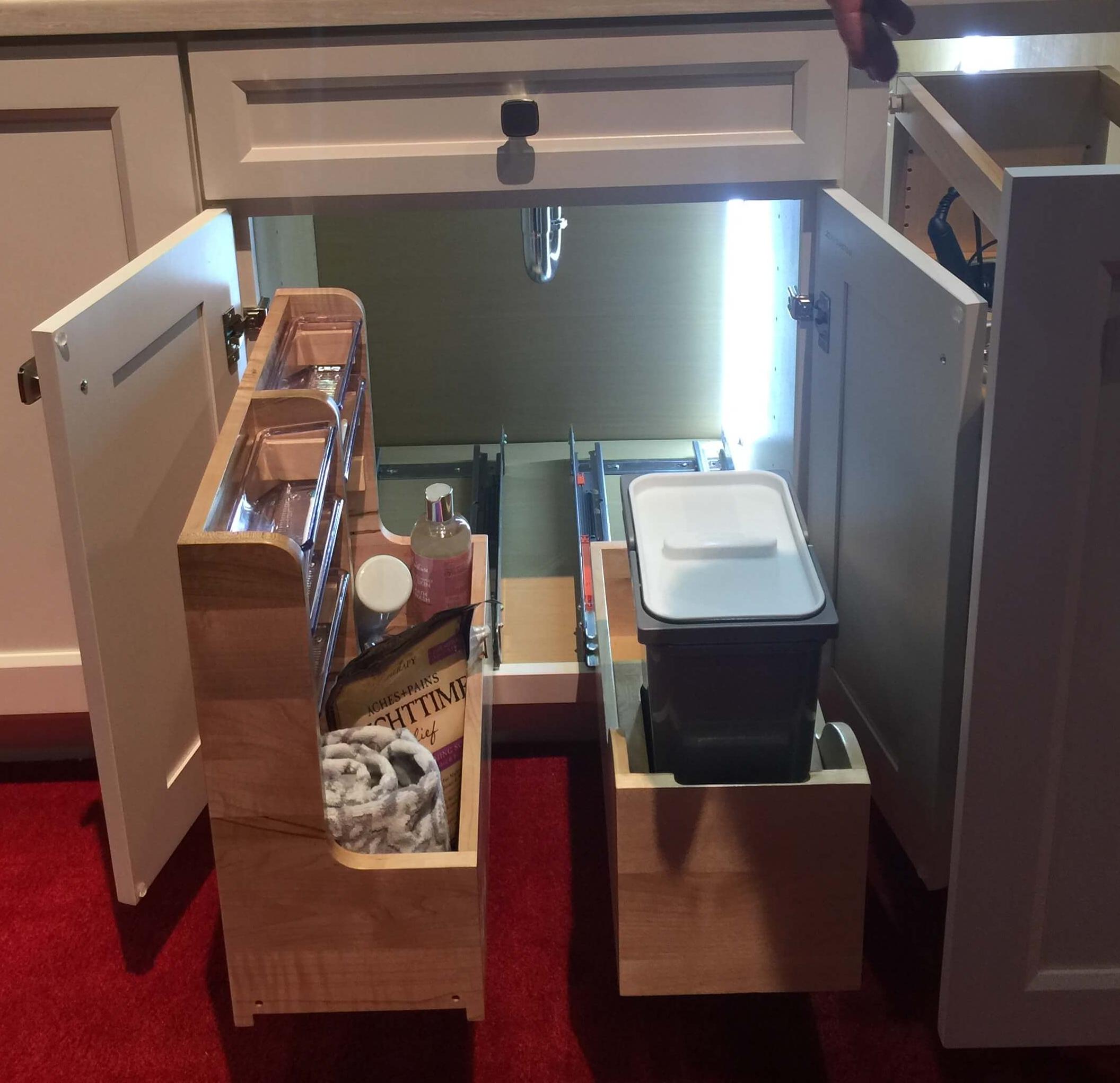 More under sink organized storage from Rev-A-Shelf #homeorganization #storage #storageideas #bathroomsink