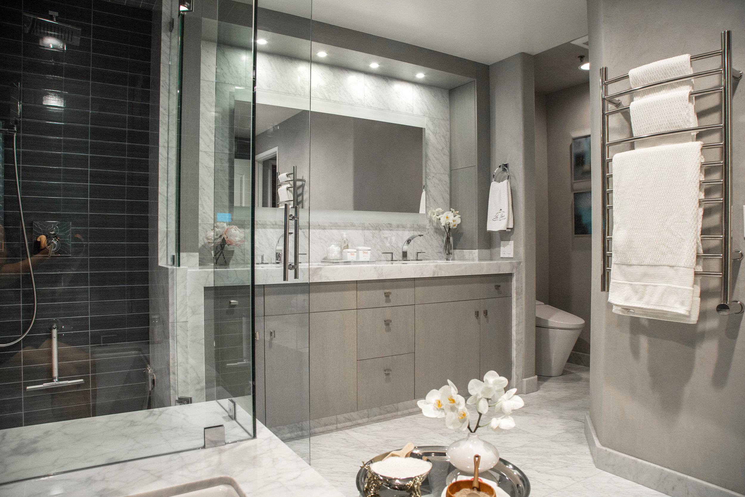 Steam shower designed in luxury bathroom by Designer: Lori Gilder #steamshower #bathroomremodel