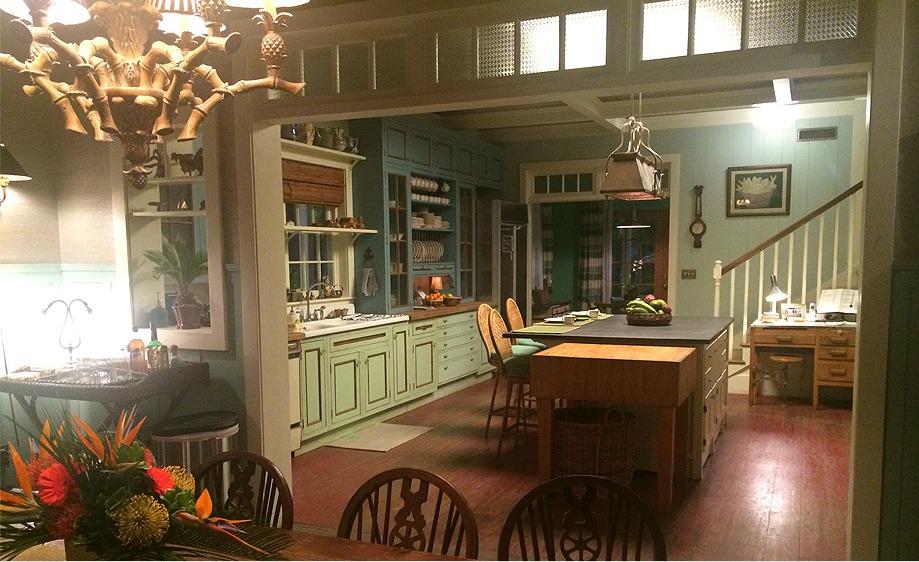 "Netflix series, ""Bloodline"" kitchen with single long pendant over island #pendantlighting #kitchenlighting"