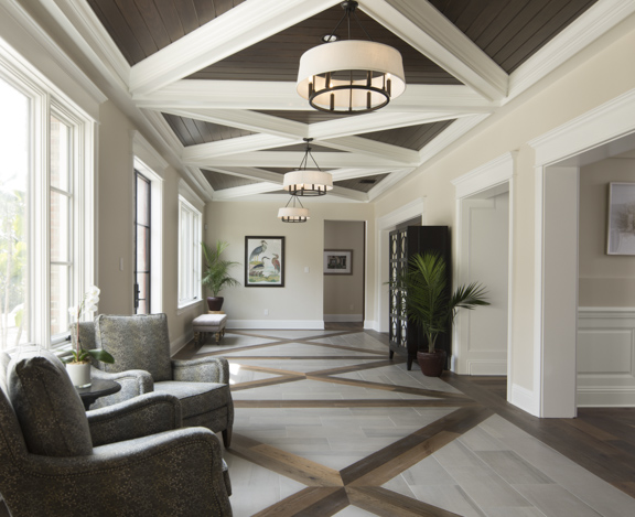 New addition loggia in The New American Remodel - Orlando, KBIS2018 #loggia #floorpattern #cofferedceiling