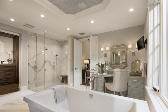 Luxurious master bathroom in The New American Remodel - Orlando, KBIS2018 #masterbathroom #bath #bathroomdesign