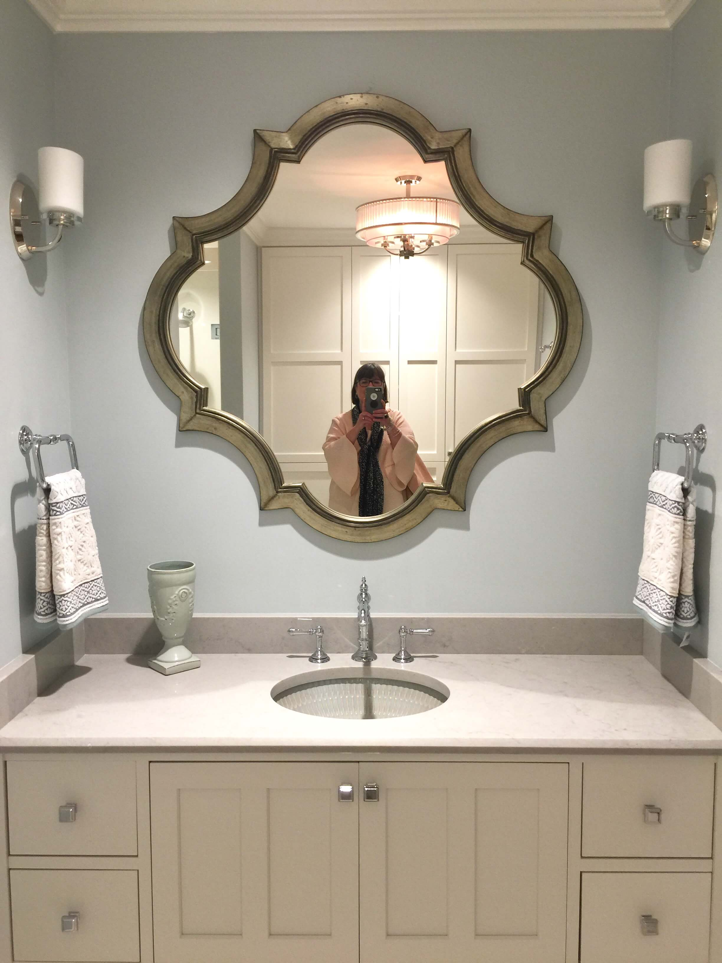 Guest bathroom - The New American Remodel - Orlando, KBIS2018 #bathroomvanity #mirror