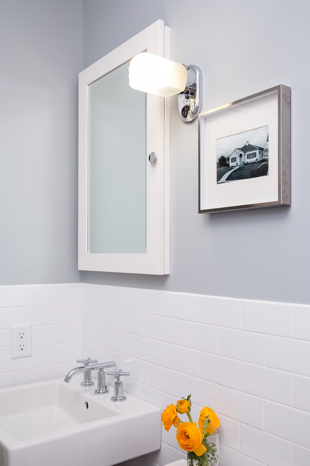 AFTER - Small bathroom remodel makeover w/ cement tile floor and vintage style #bathroommakeover #subwaytile #vintagestylebathroom