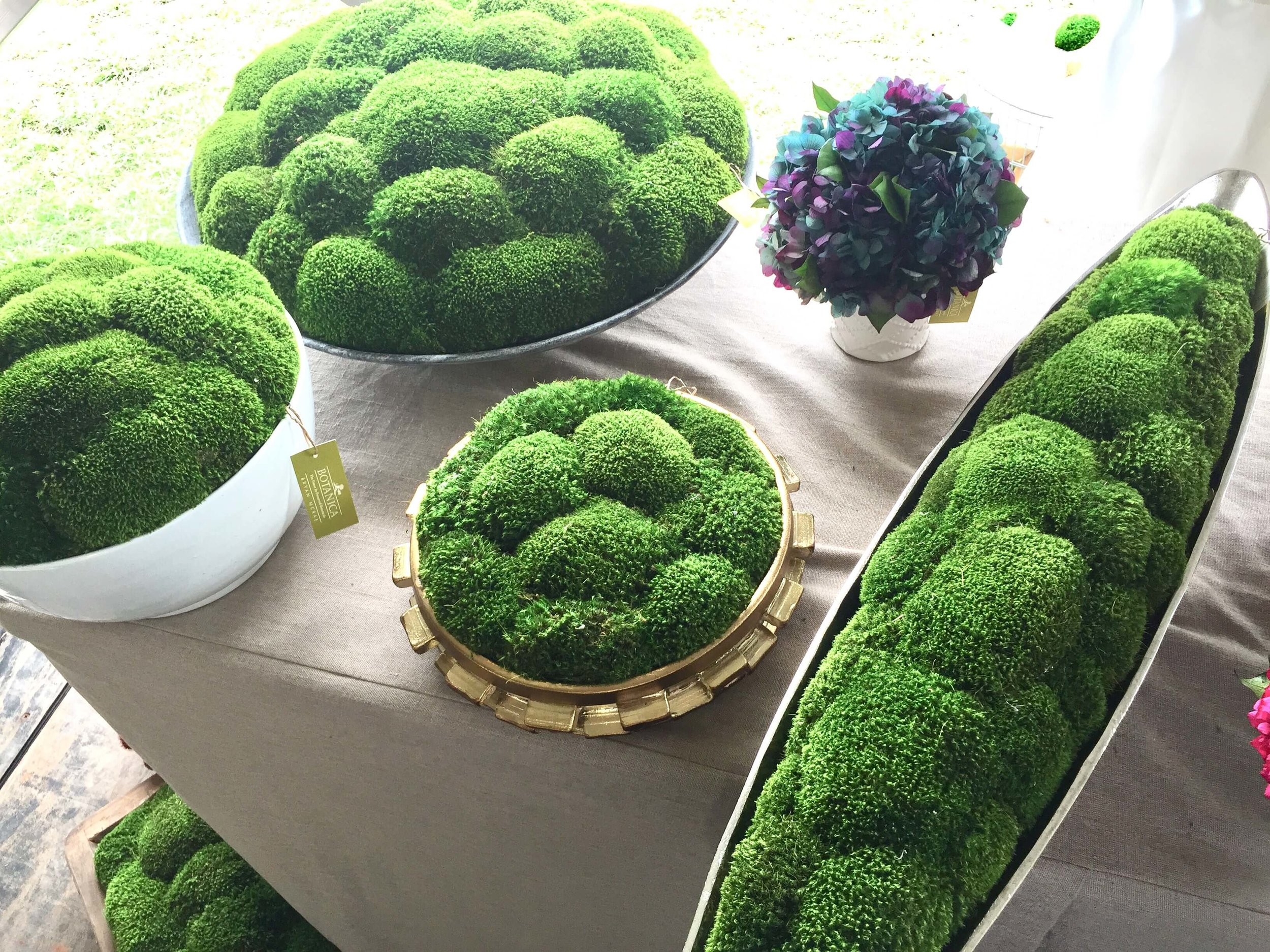 Moss filled planters from Round Top
