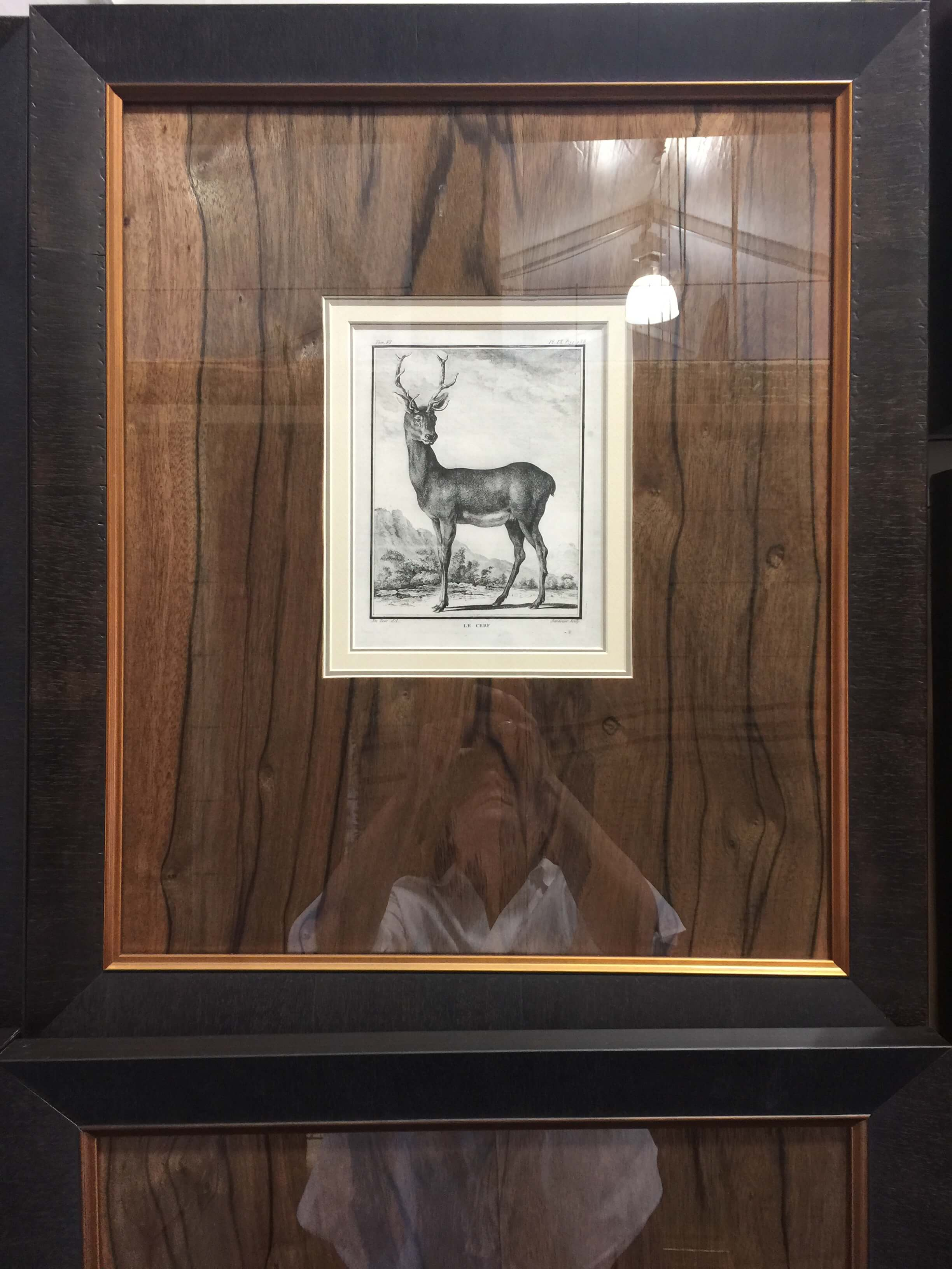Walnut wood mat in framing by Michael Paul Designs seen at Round Top, TX at Arbor Antiques #framing #walnut #roundtop