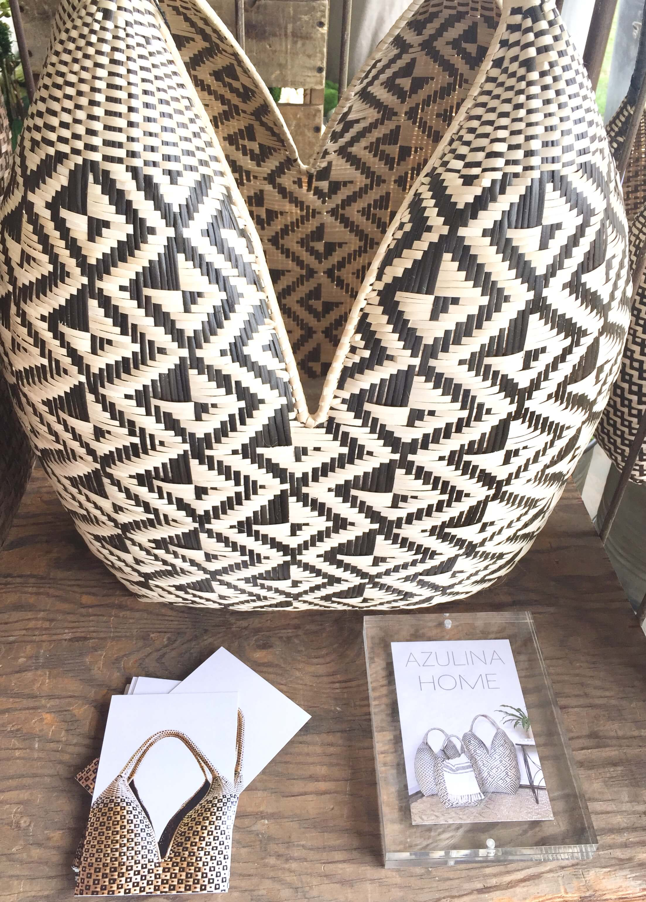 Black and natural patterned basket carrier seen at Roundtop, TX from Azulina Home #roundtop #baskets