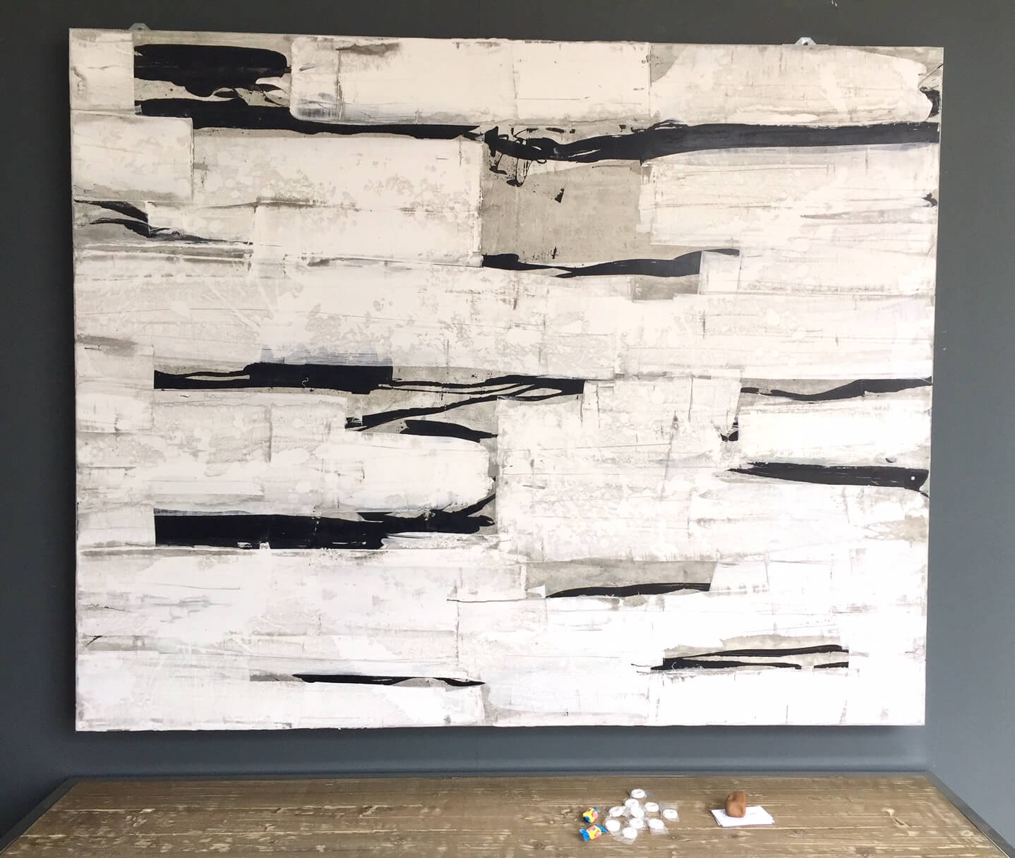 Venetian plaster wall art by Scott Kerr seen at Round Top, TX #walldecor #venetianplaster #wallart