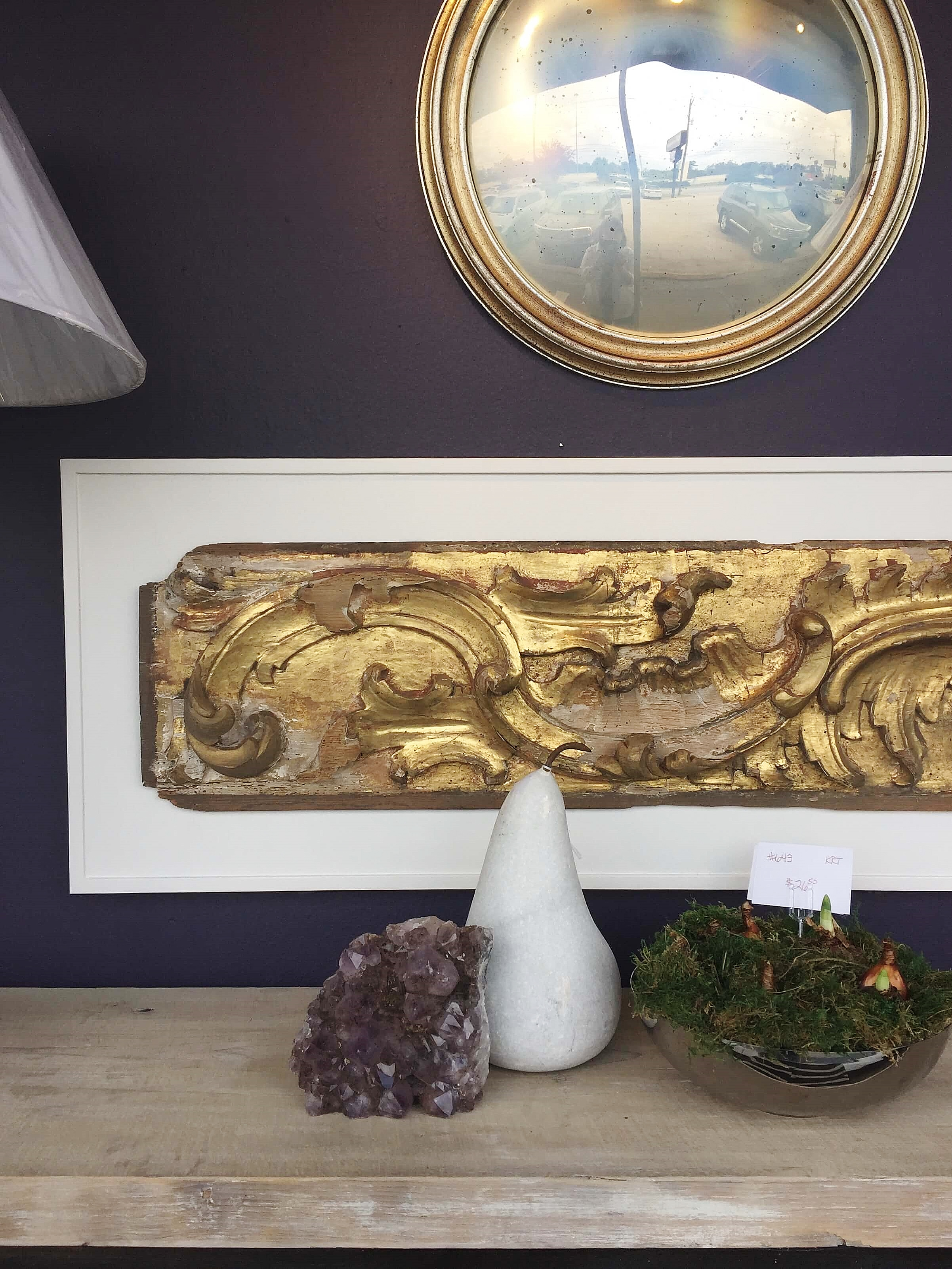 Shadowbox framed gilded wood carving as wall decor #walldecor #wallart #framing #collections