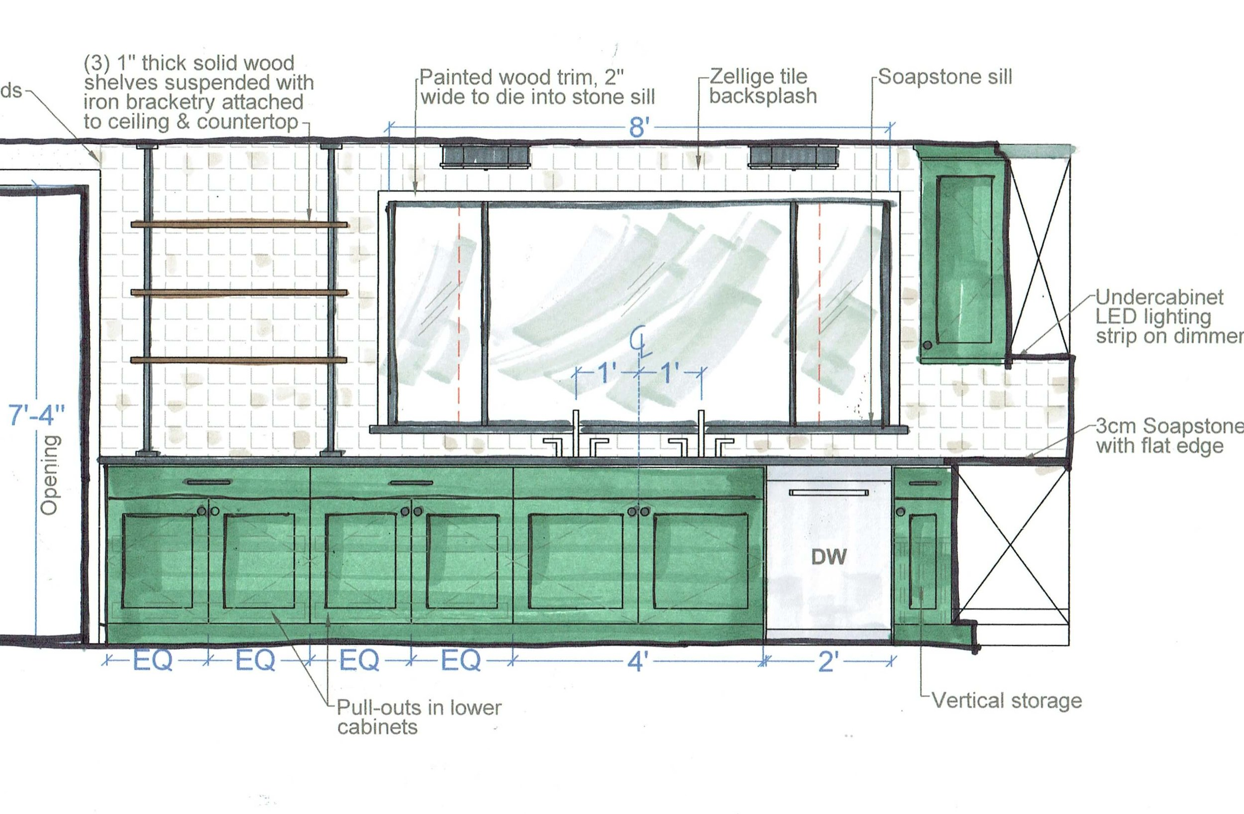 Kitchen wall elevation with new vibrantly painted cabinetry, soapstone counters, Zellige tile wall, new window and an extra long sink with two faucets. #kitchendesign #kitchendesignideas