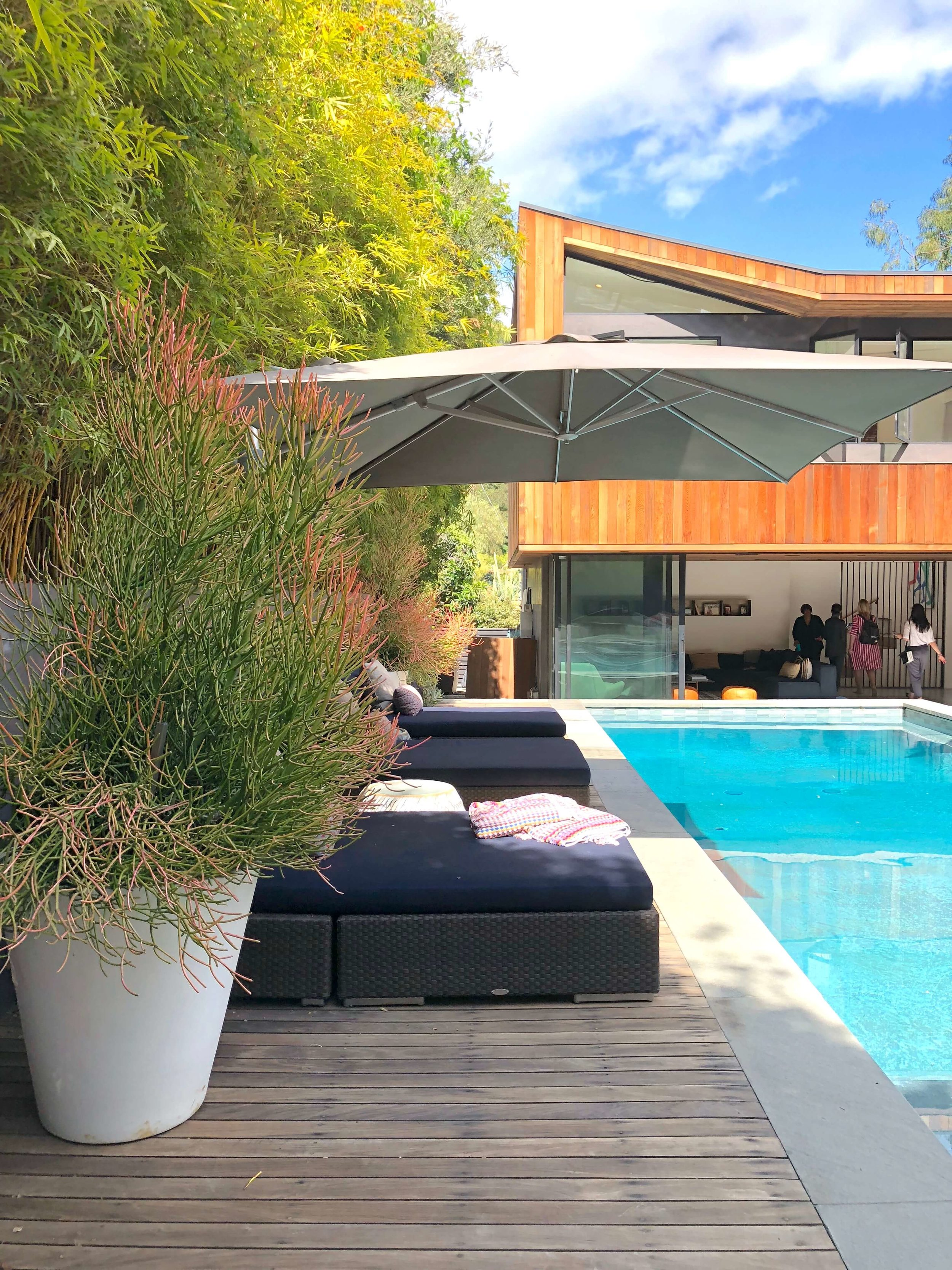 Back garden exterior view - Assembledge+ Architects, Dwell on Design, Los Angeles, California   #backyardideas #pool #swimmingpool #swimmingpooldesign