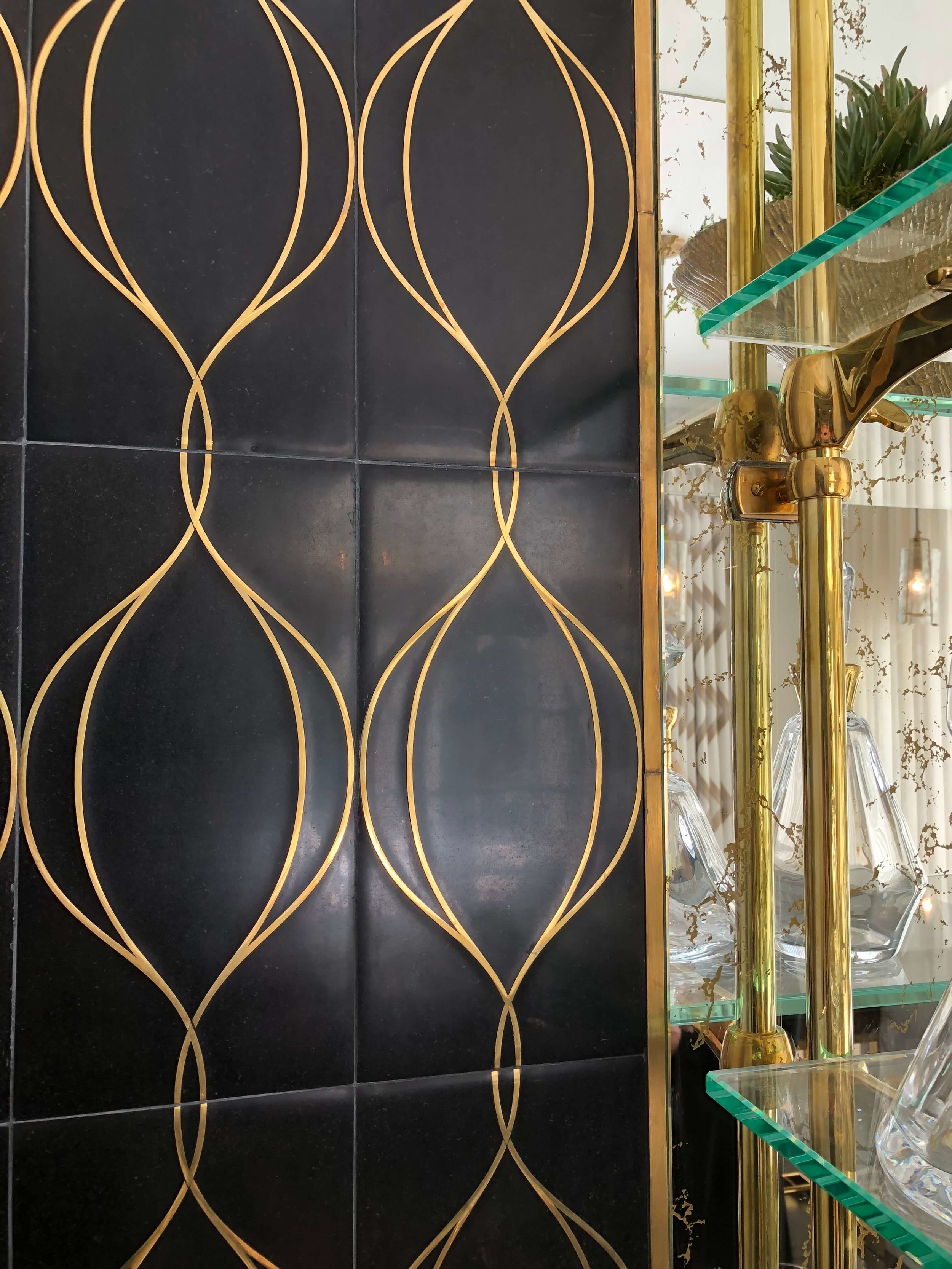 Brass inlay marble tile from Walker Zanger in the wet bar designed by Designs of the Interior at the Pasadena Showcase House of Design 2018 #wetbar #brassinlay #brassdetail #marbletile