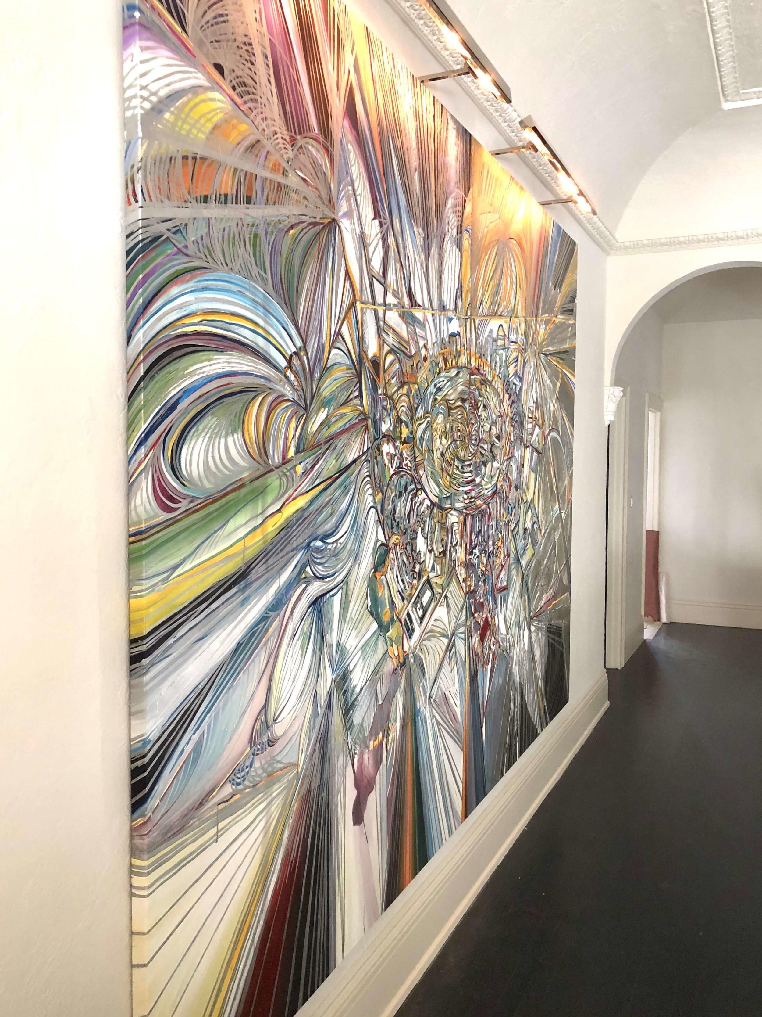 Large, oversized art by Adam Berg in upstairs hallway at Pasadena Showcase House