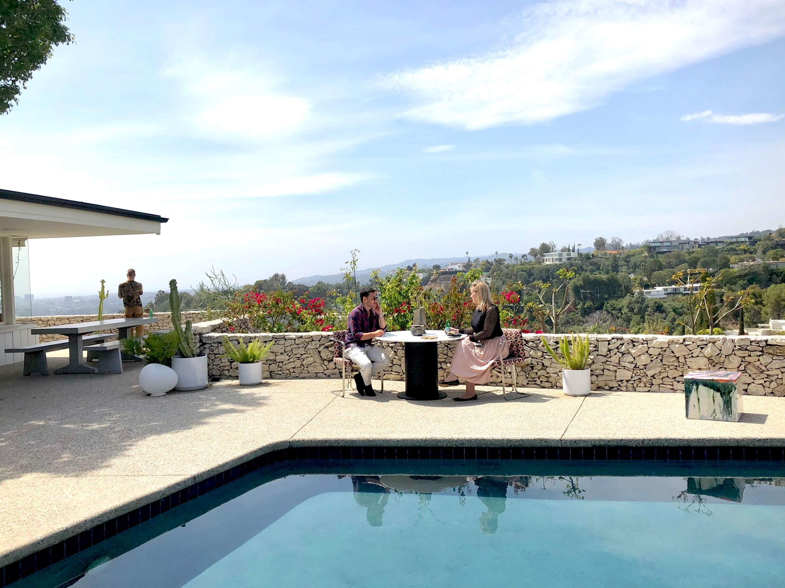Back patio and pool with view of LA at Casa Perfect, Beverly Hills, CA #pool #patio #view