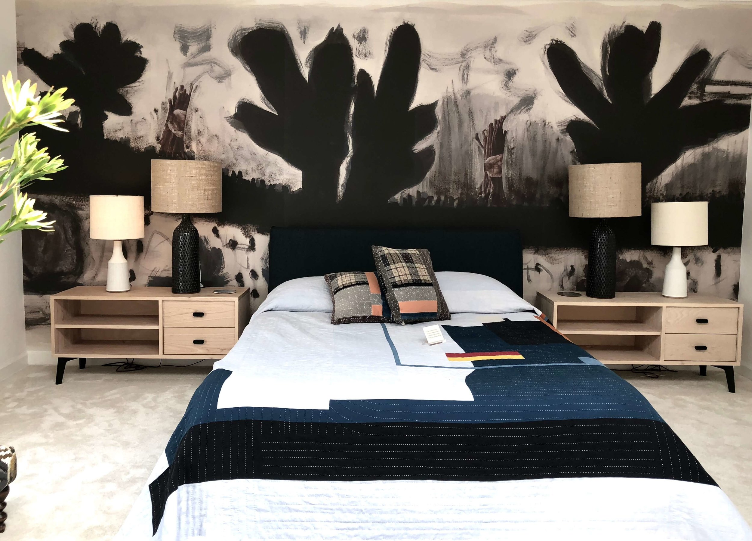 mid century modern design bedroom with graphic accent wall mural