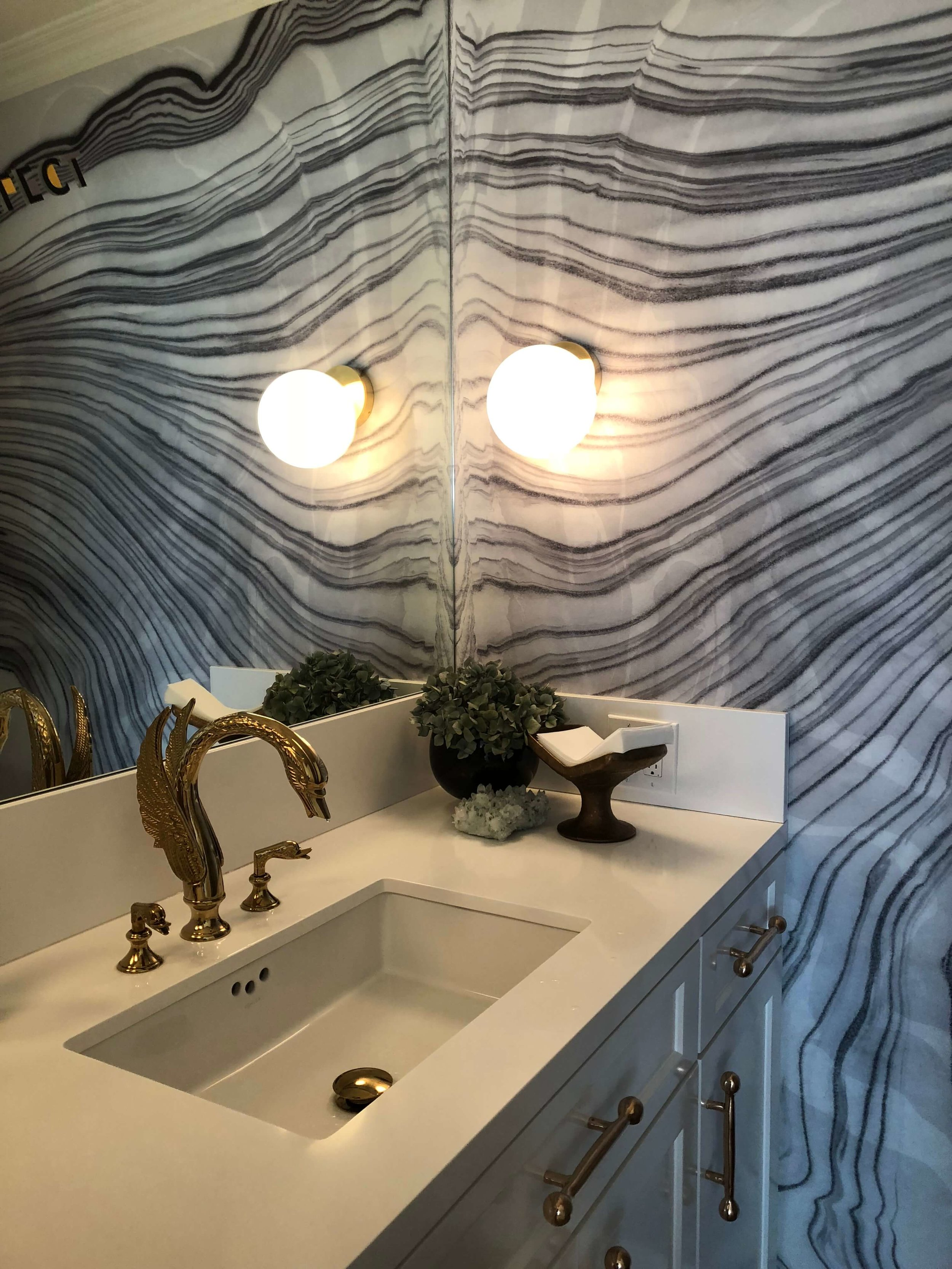Powder bath with wallpaper by Calico Wallpaper at Casa Perfect, Beverly Hills #marblewallpaper #powderbath