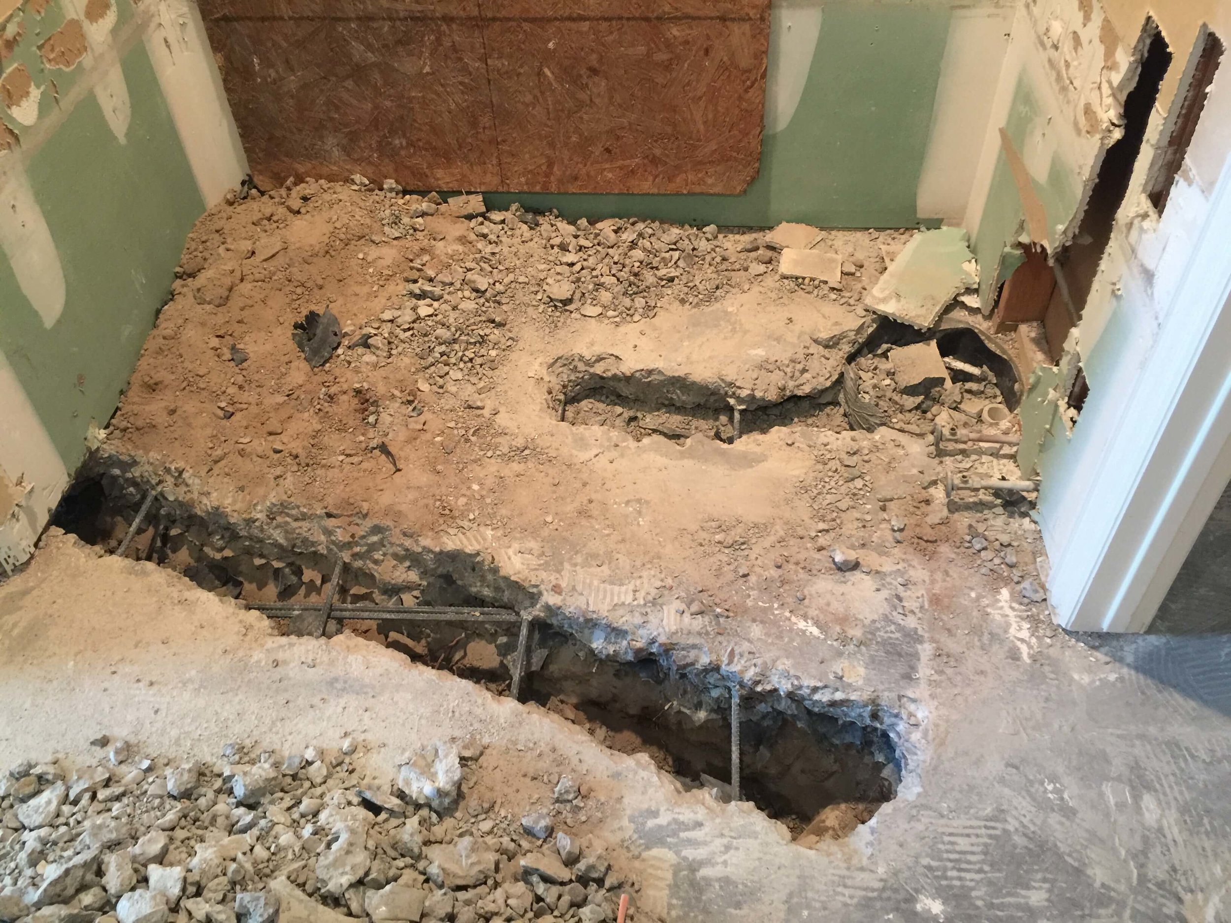 Bathroom remodel in progress - from built-in to free-standing tub