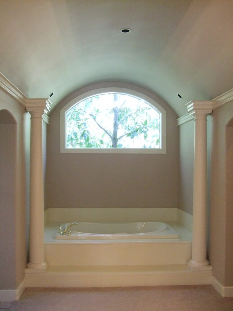 BEFORE - Master bath with built in tub and Roman columns to be remodeled