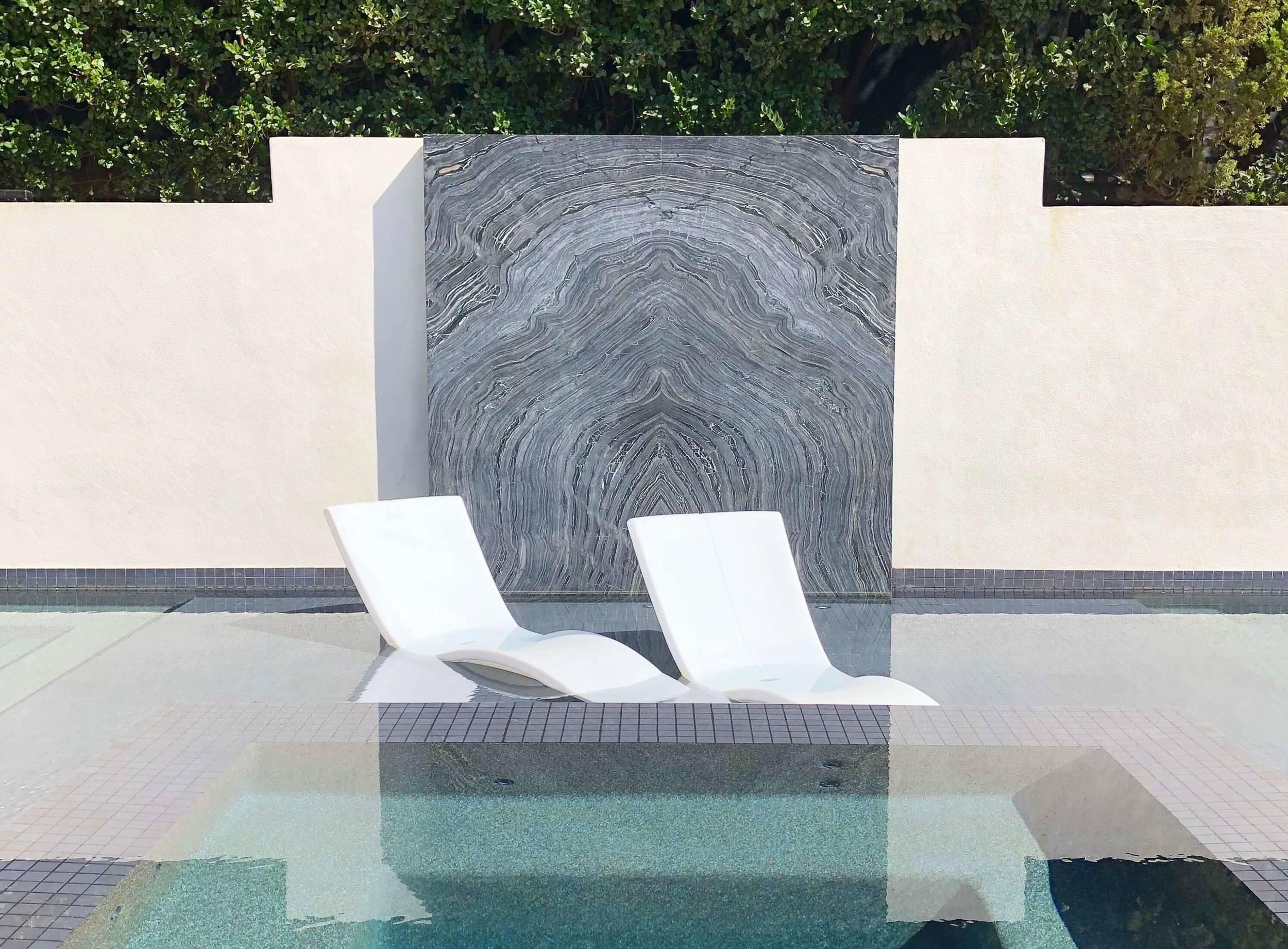 These pool ledge loungers are linked below, seen at the Pasadena Showcase House of Design