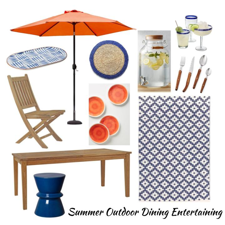 Summer outdoor dining entertaining with umbrella, teak table and chairs in blue and orange