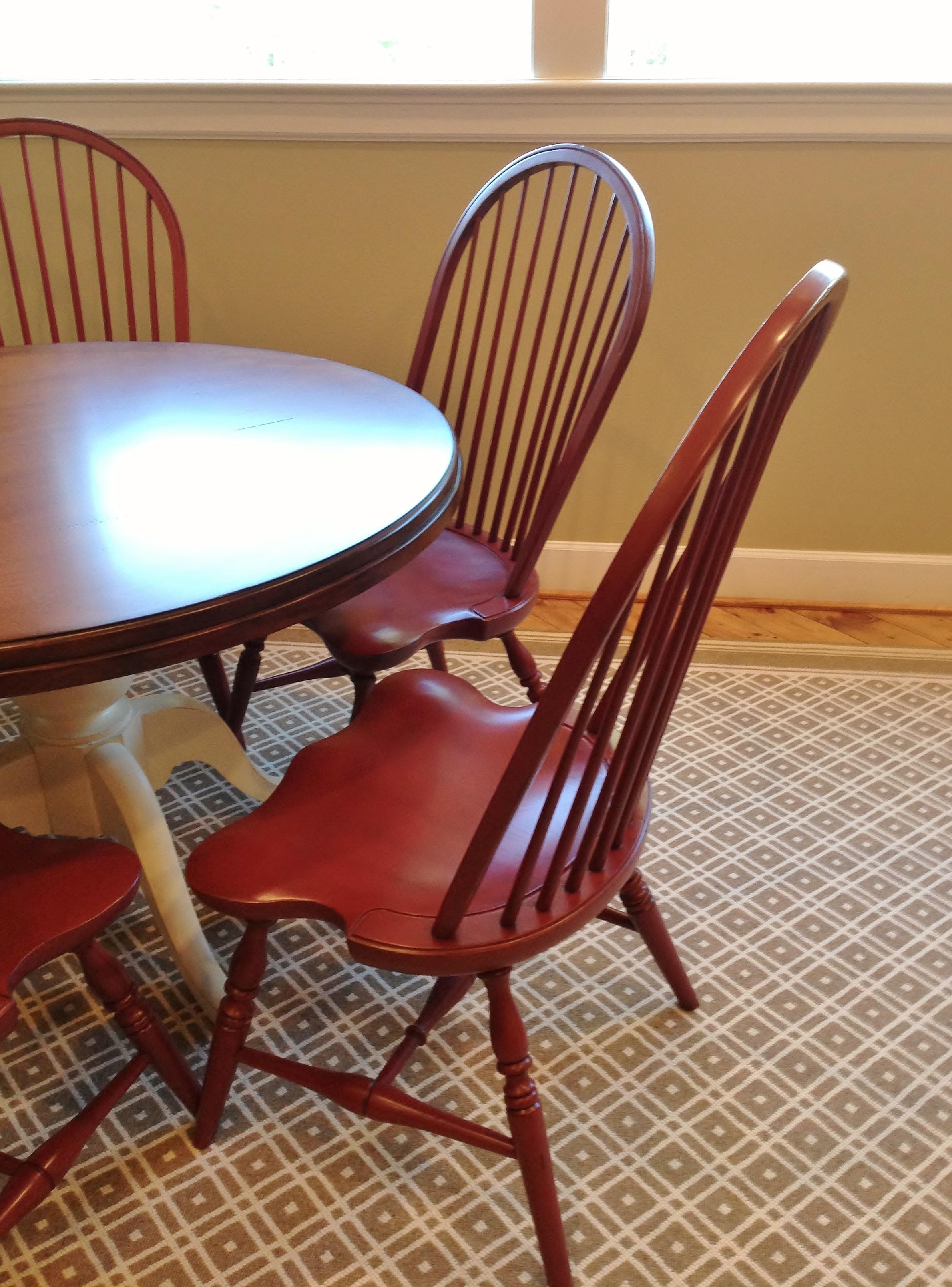 Red Windsor chair in Americana style gameroom - Designer: Carla Aston #windsorchair