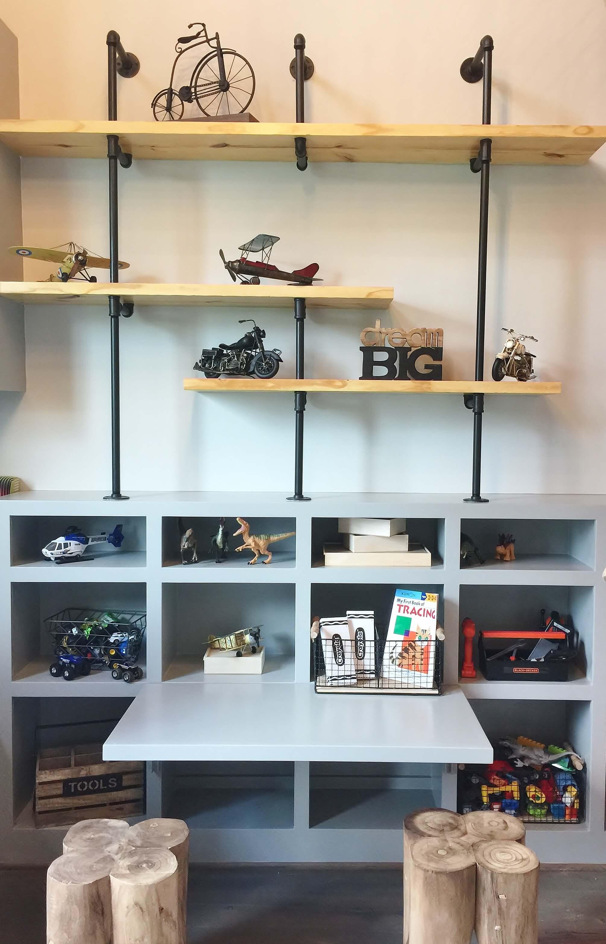 Industrial style shelving and desk in boy's bedroom - Designer: Shundra Harris