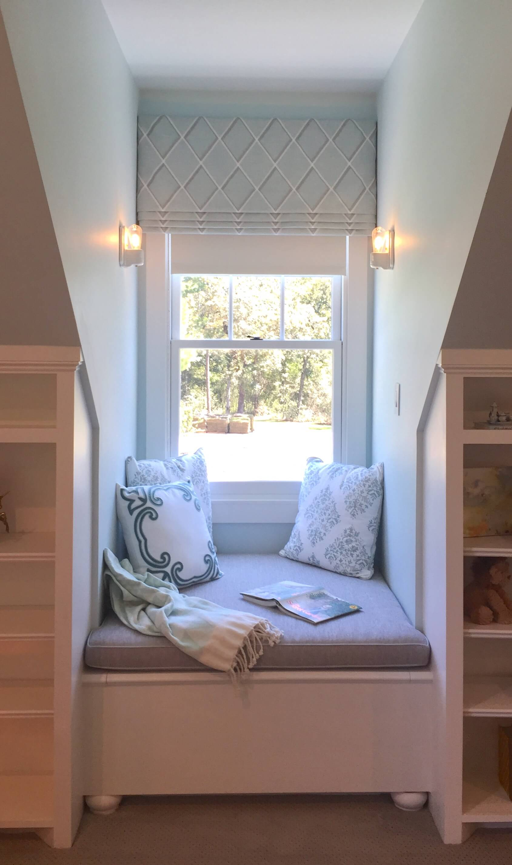 Girl's Bedroom with window seat nook - Southern Living Showcase Home, Designed by Chairma Design Group