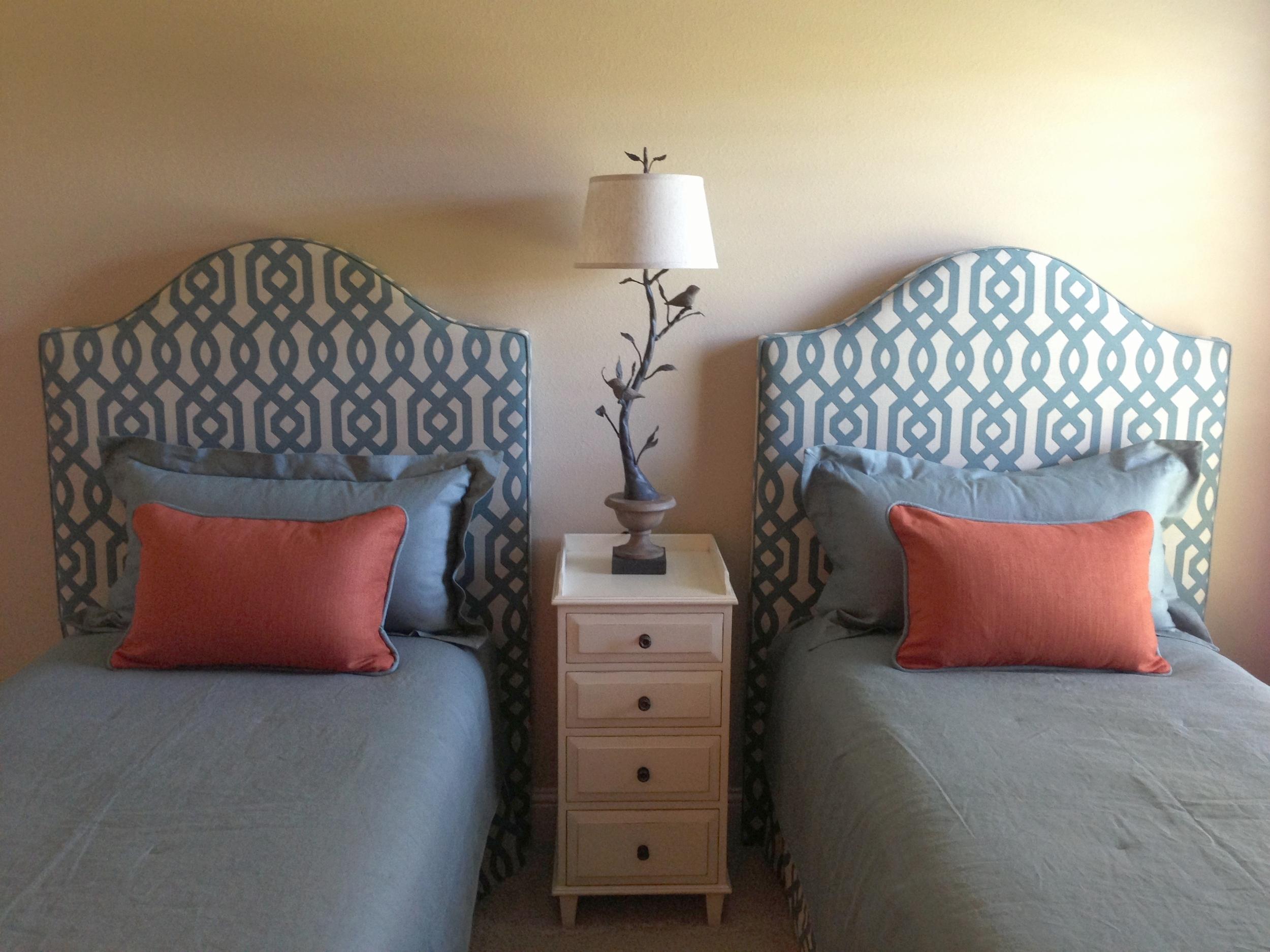 Custom design, bedding, headboard | Designer: Carla Aston