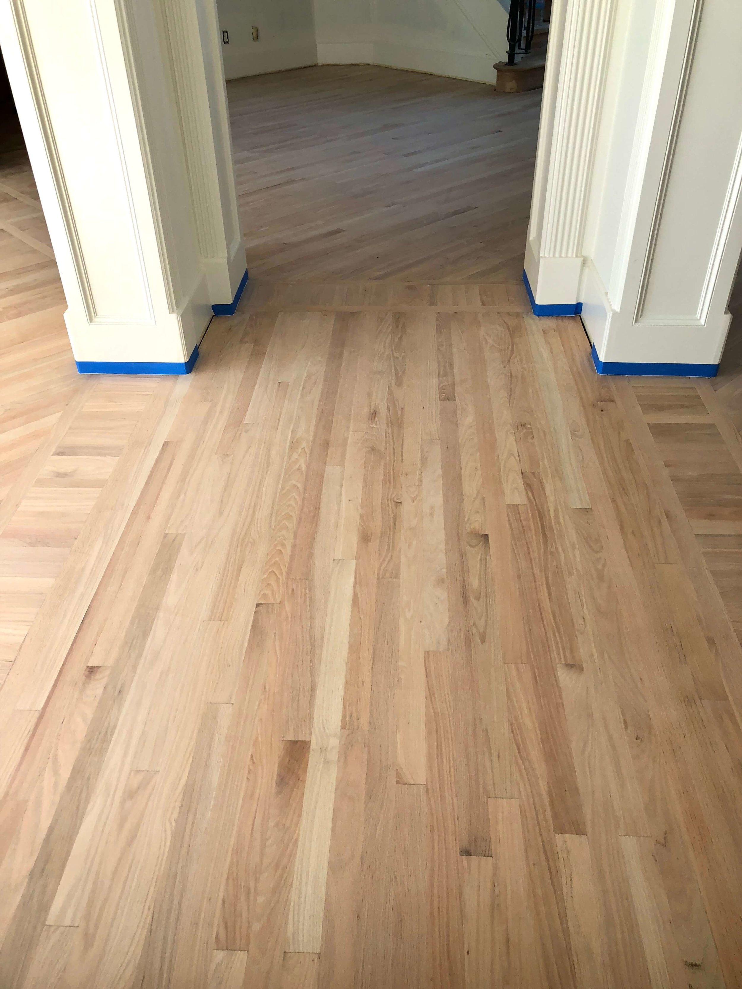 Sanded and stripped oak flooring