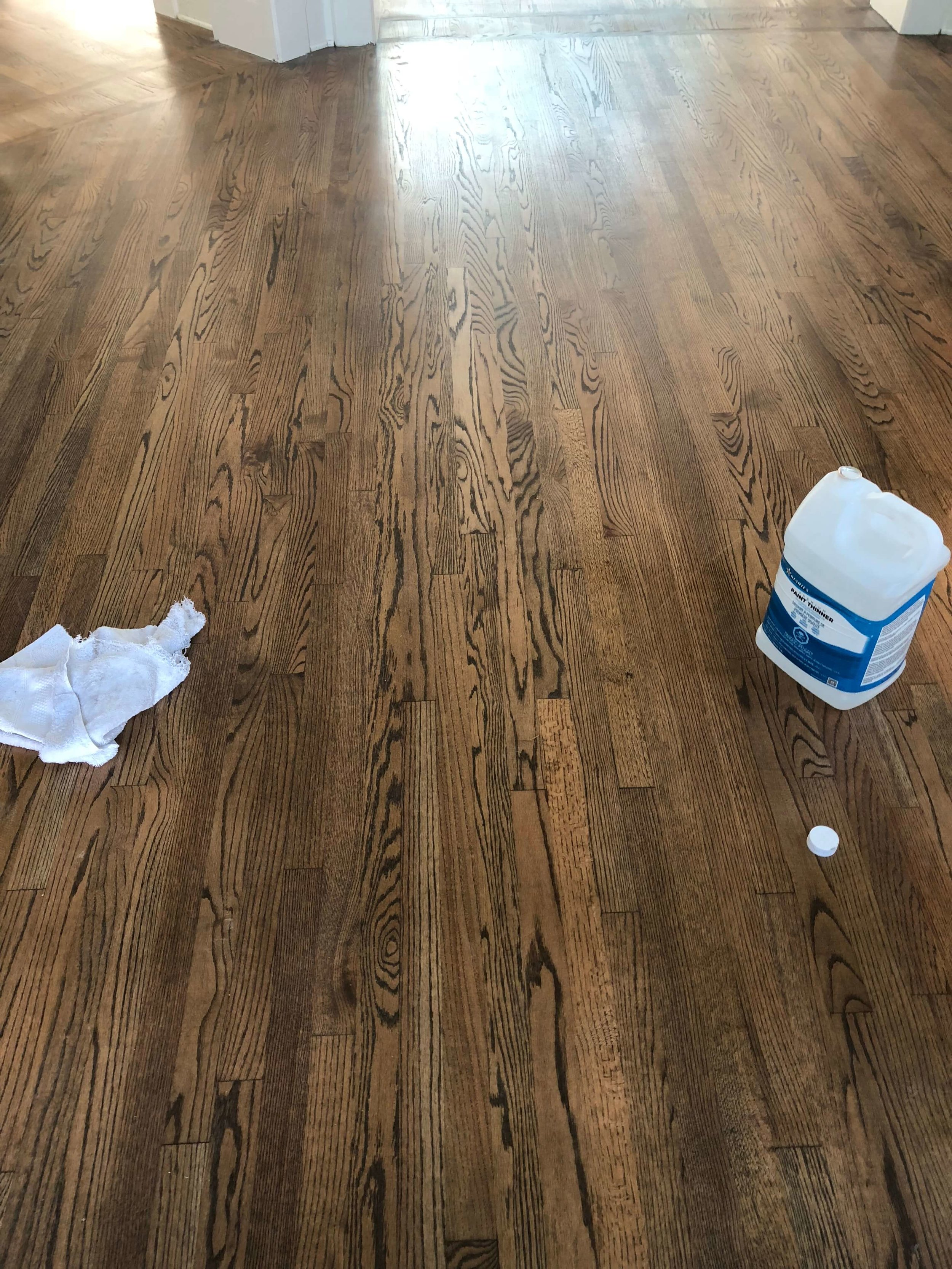 Stained and refinished oak flooring