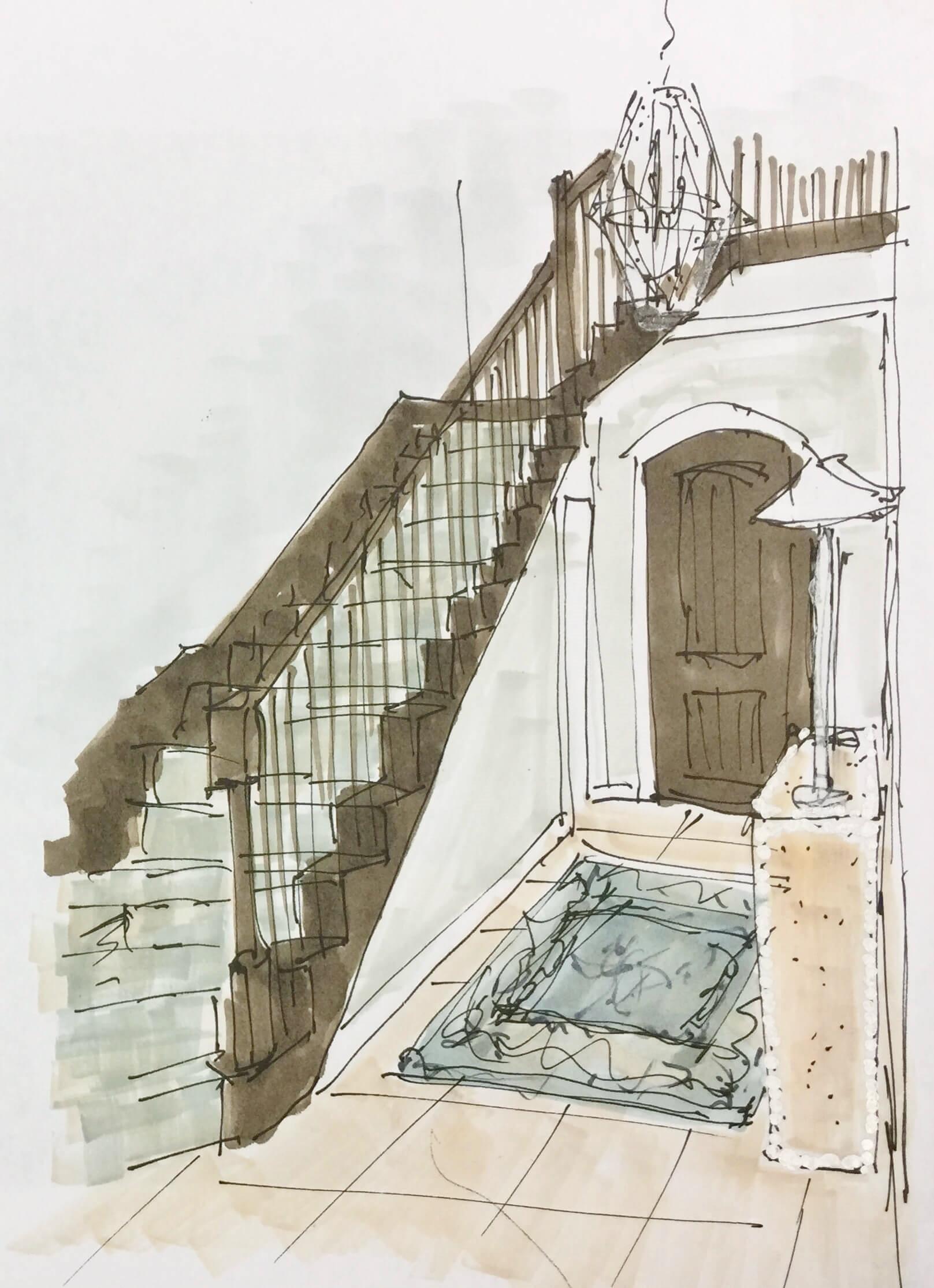 Coastal Style Foyer Makeover Sketch - Carla Aston, Designer #sketch #foyerideas
