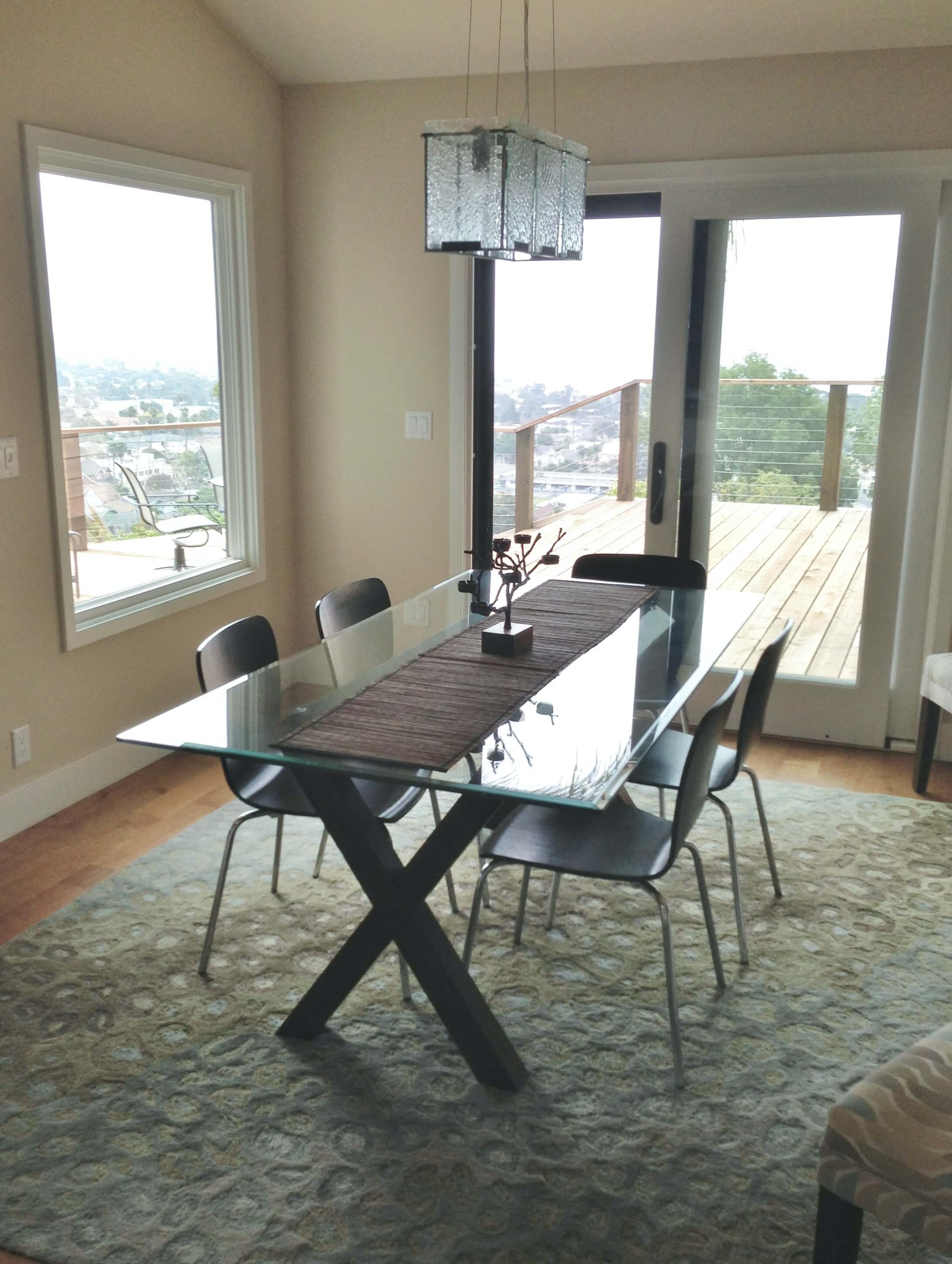 Sliding French doors to balcony deck off dining room - Ventura California rental house review tour