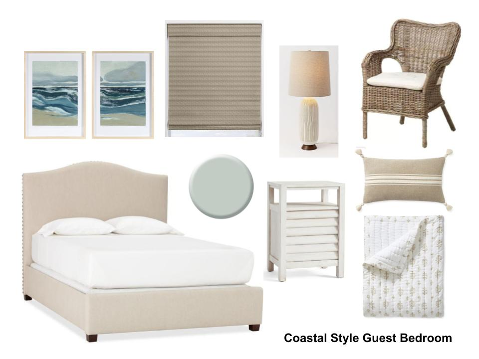 Coastal Style Guest Bedroom Design Plan W/ Links To Buy