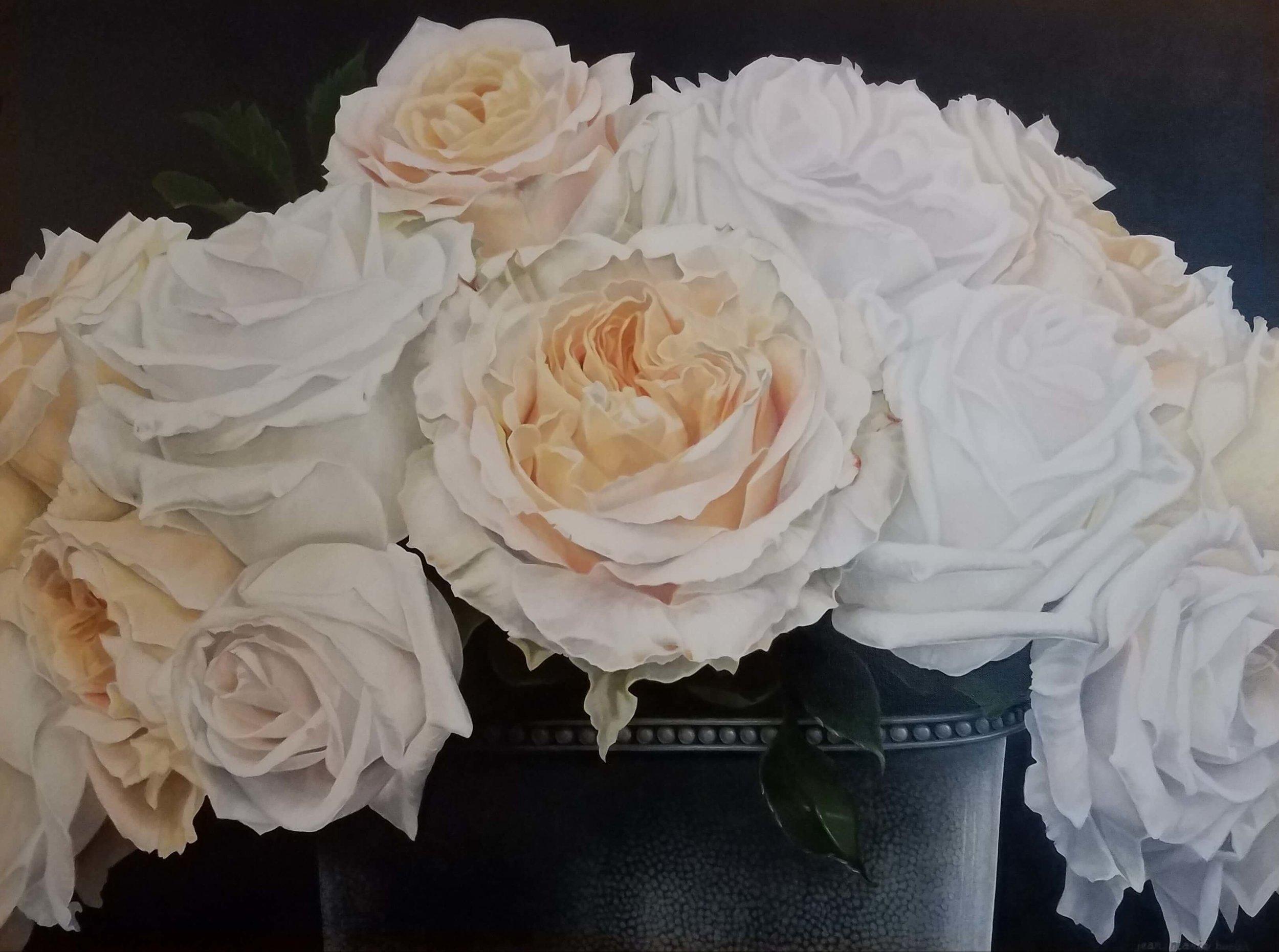 Pour L'Amour des Roses, Artist, Jean Marie Bucich, 48 x 36 oil painting