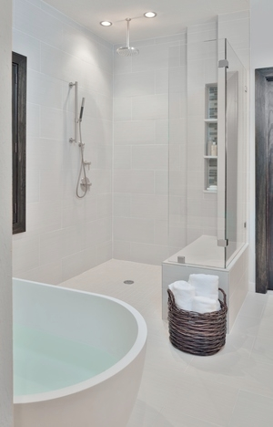 Walk in shower with no curb  - Designed by: Carla Aston