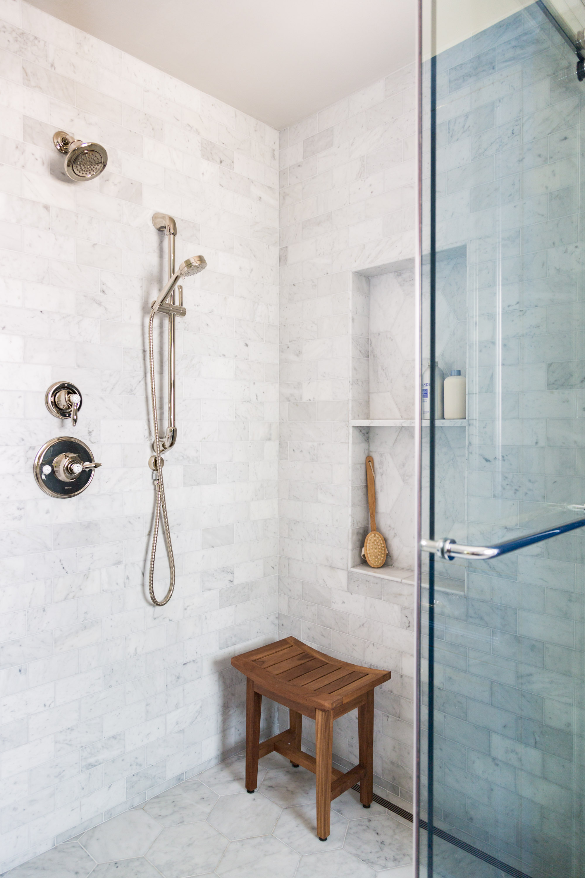 Before and After Master Bath Renovation  - Designer: Carla Aston, Photography by Tori Aston