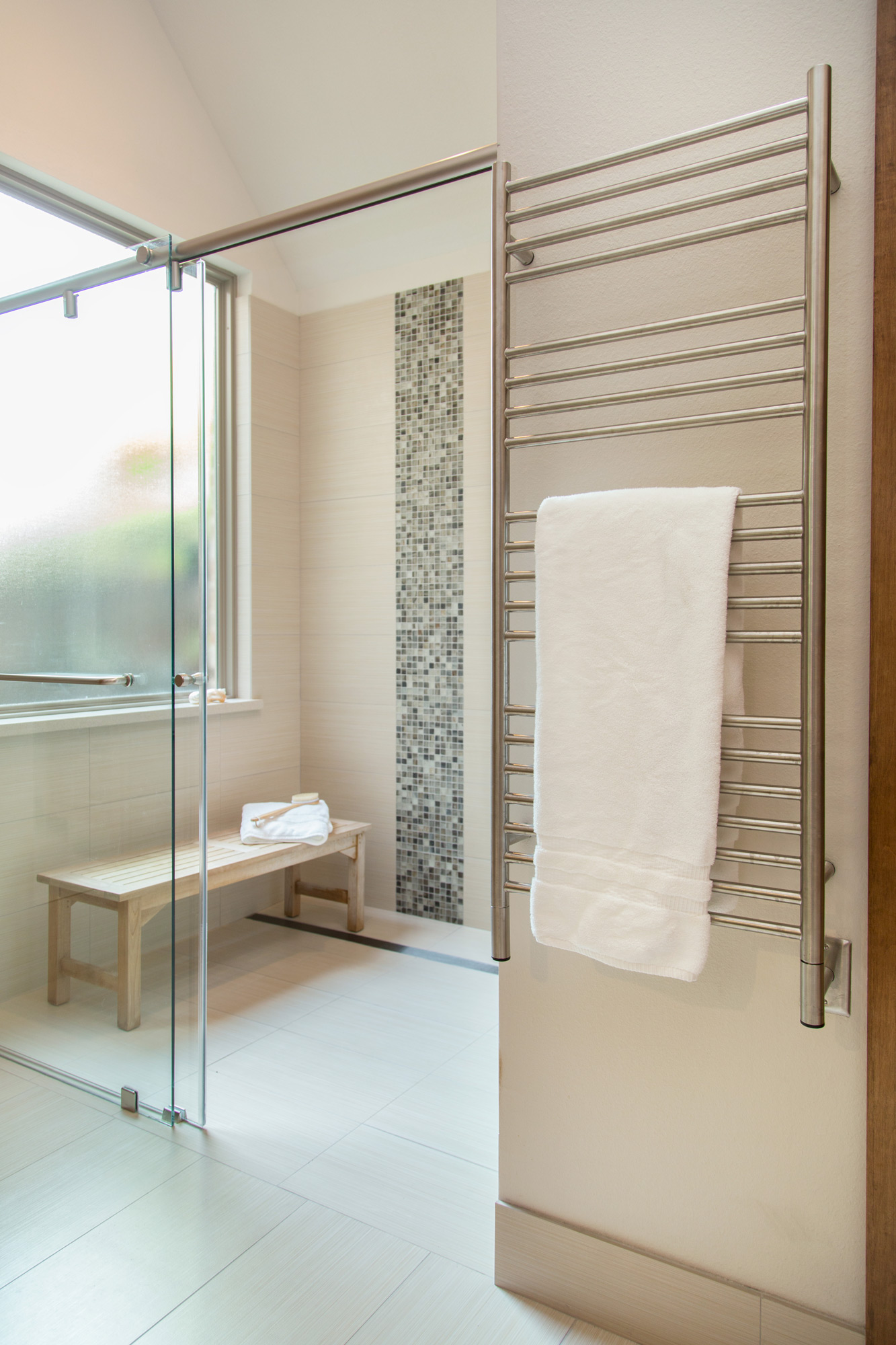 Shower with no curb and linear drain for accessibility  | Carla Aston, Designer, Photographer, Tori Aston