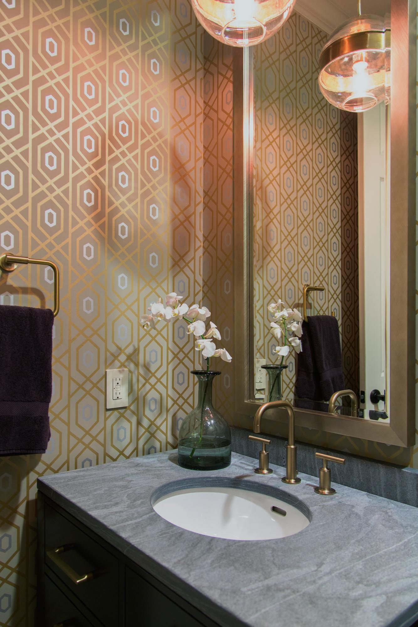 POWDER BATH ROUND UP |Powder room remodel with metallic wallpaper and pendant light fixture reflected in mirror featured in  this home's remodel  | Designer: Carla Aston, Photographer: Tori Aston #powderbath #powderroom