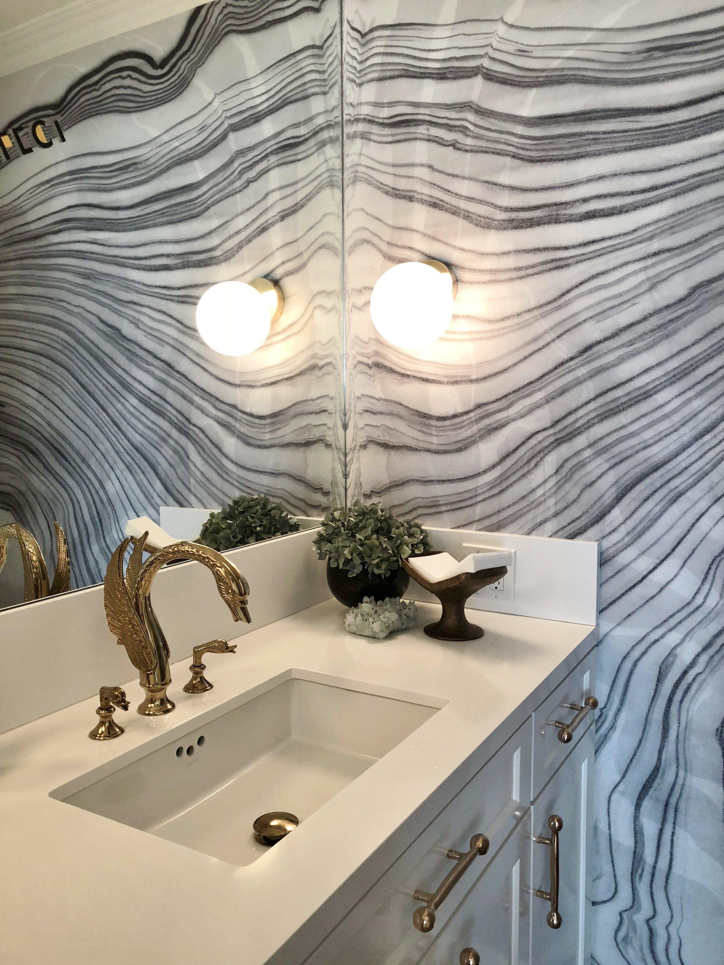 POWDER BATH ROUND UP |Powder room with marbleized wallpaper and swan faucet on the  LA Design Trail, Casa Perfect  #powderbath #powderroom