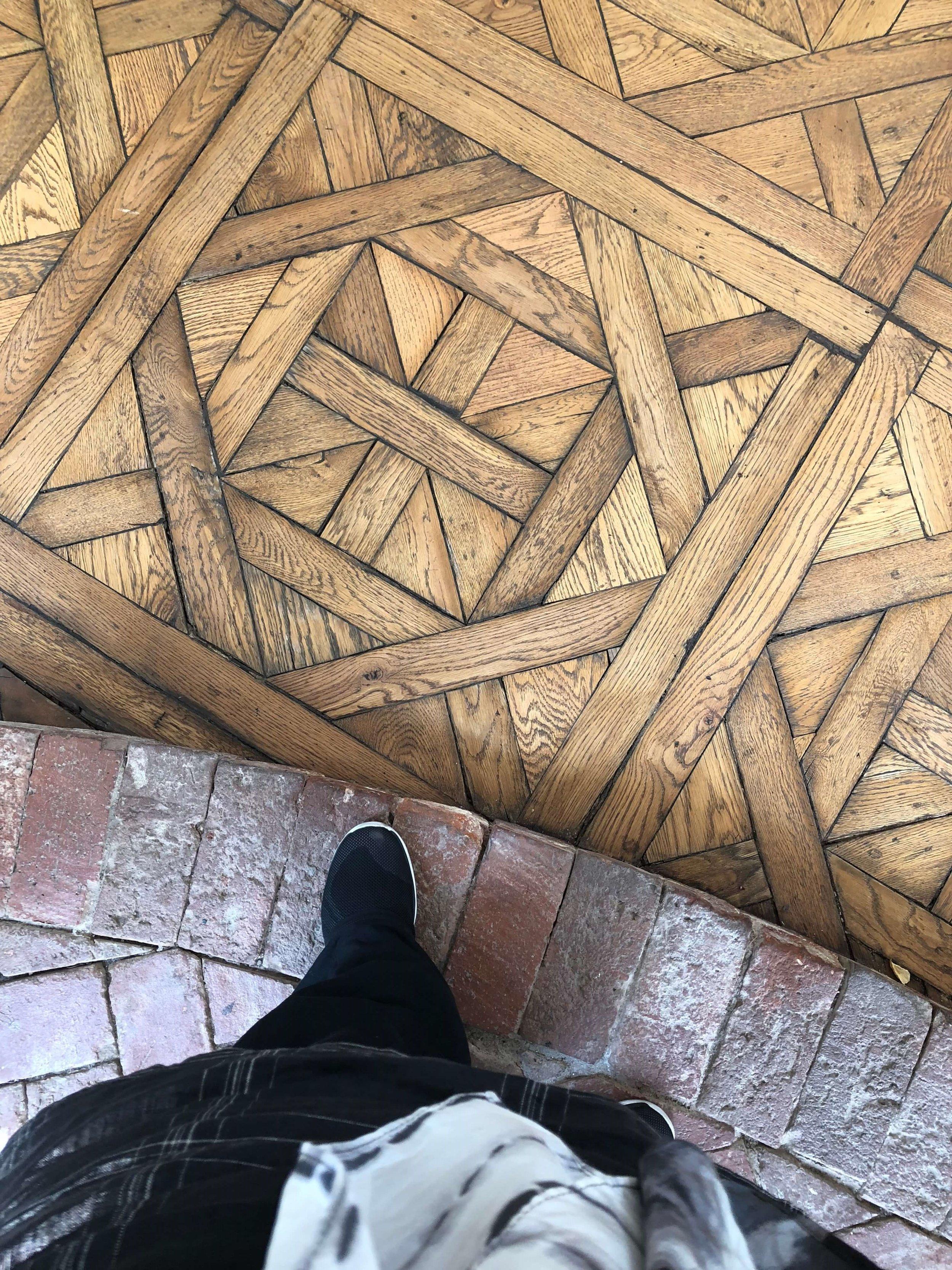 Original parquet flooring seen in  Casa Perfect home tour